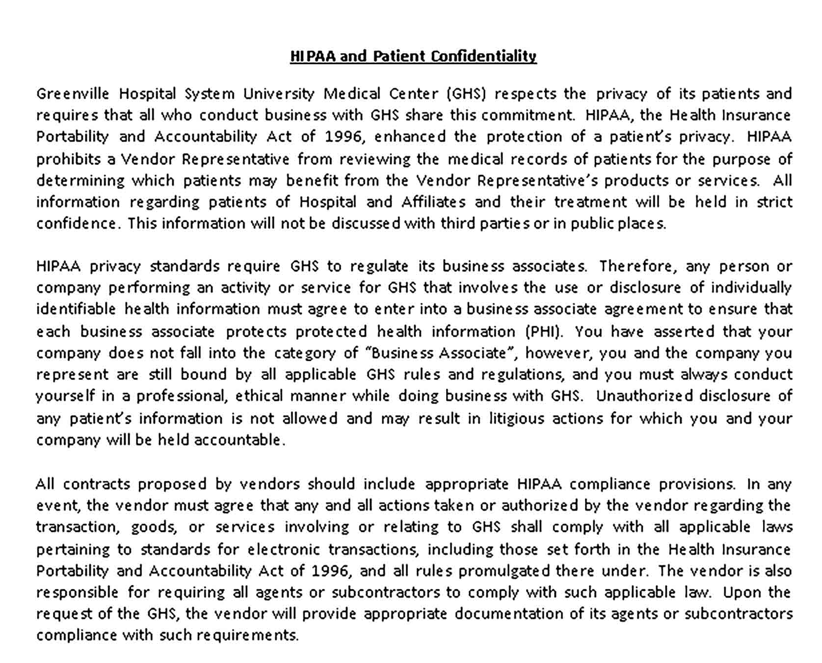 Templates HIPAA and Patient Confidentiality Agreement Sample