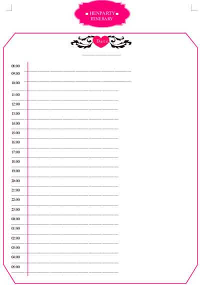 Templates Hen Party Itinerary Example