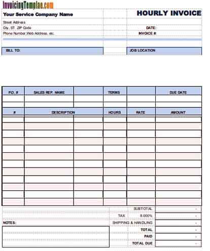 Templates Hours Invoice Example