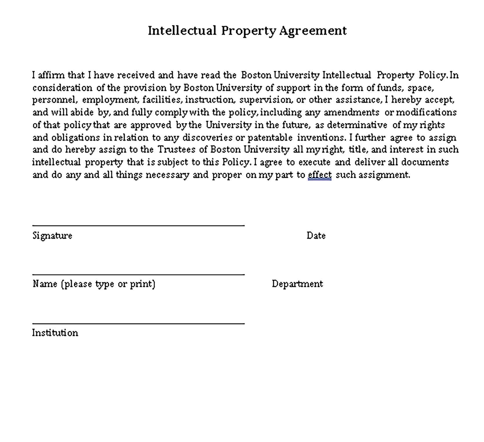 Templates Intellectual Property Agreement Sample 001