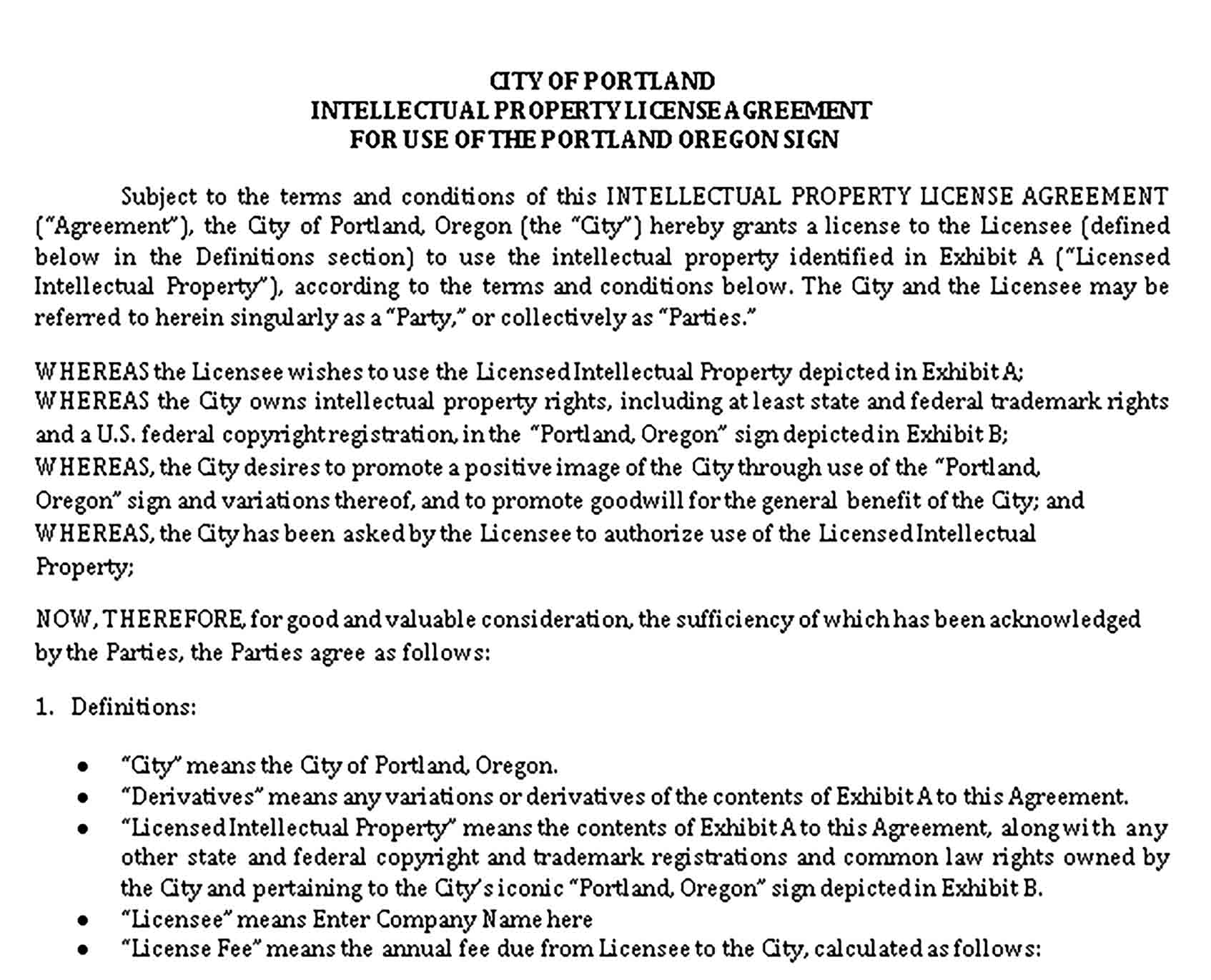 Templates Intellectual Property Licence Agreement in Sample