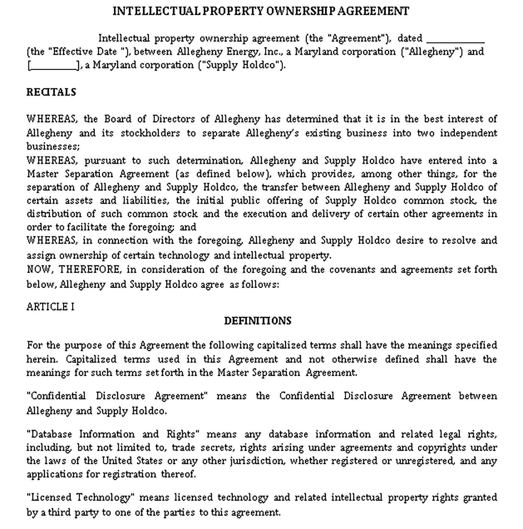 Templates Intellectual Property Ownership Agreement Sample