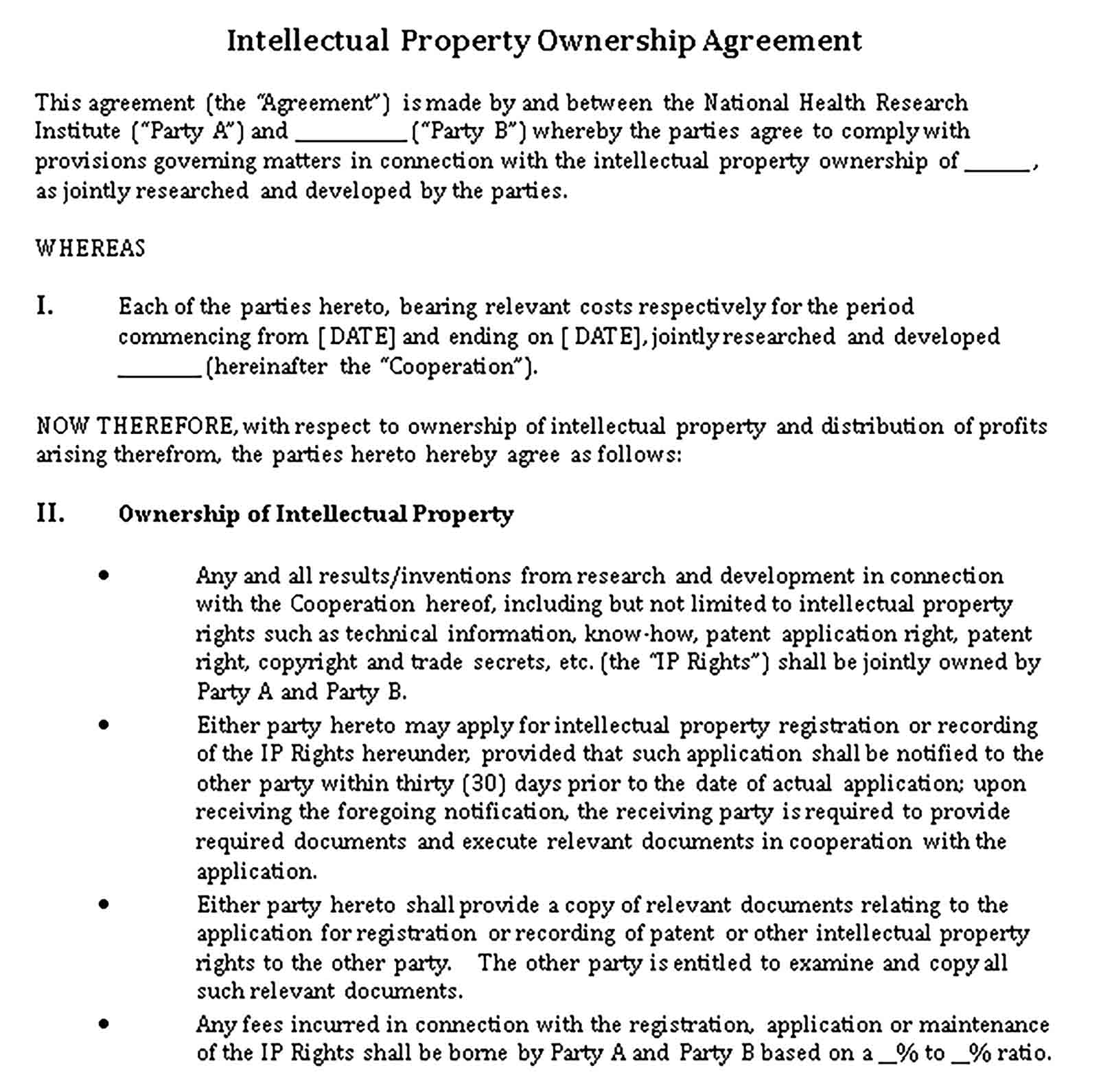 Templates Intellectual Property Ownership Agreement in DOC Sample