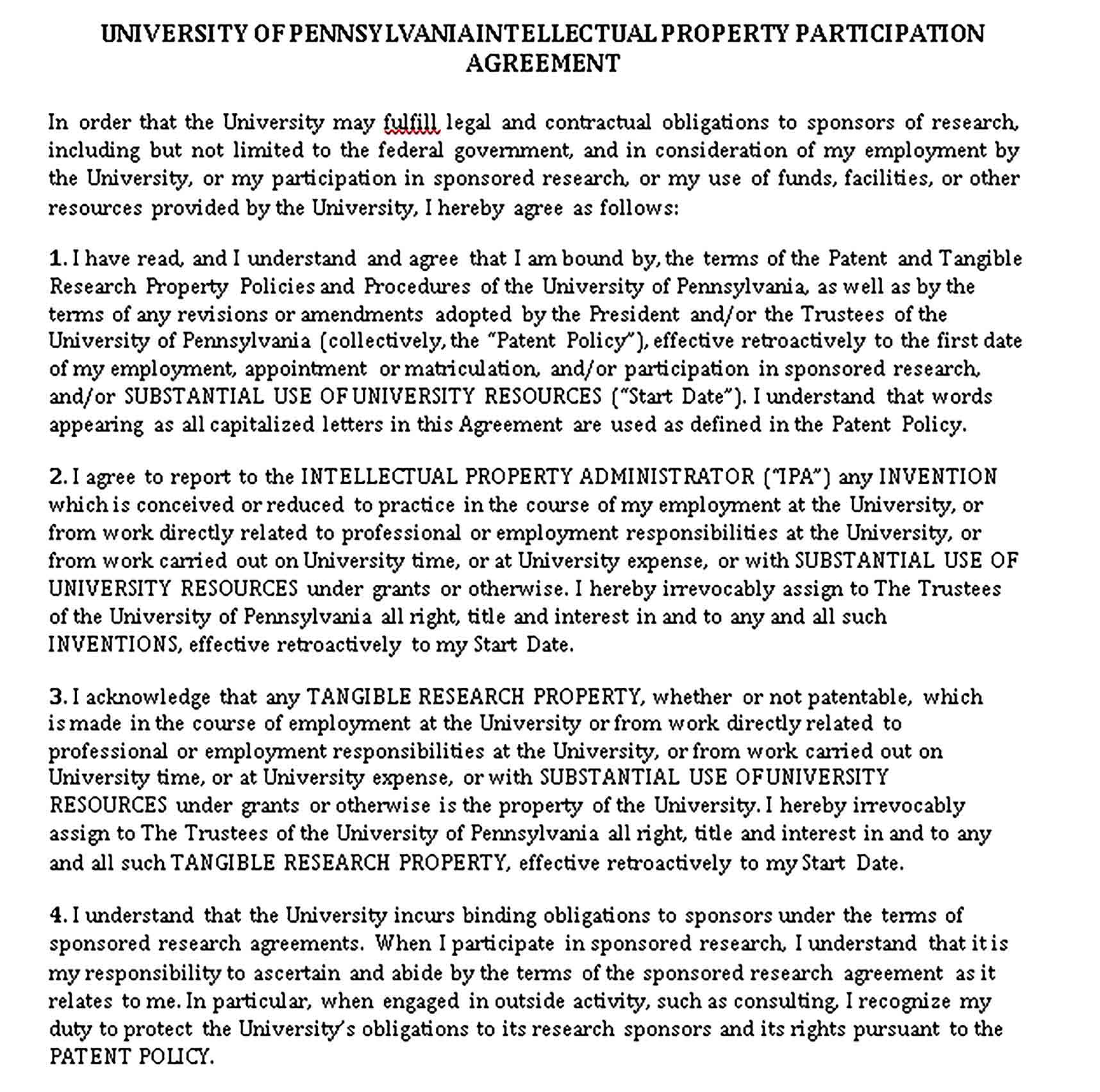 Templates Intellectual Property Participation Agreement Sample