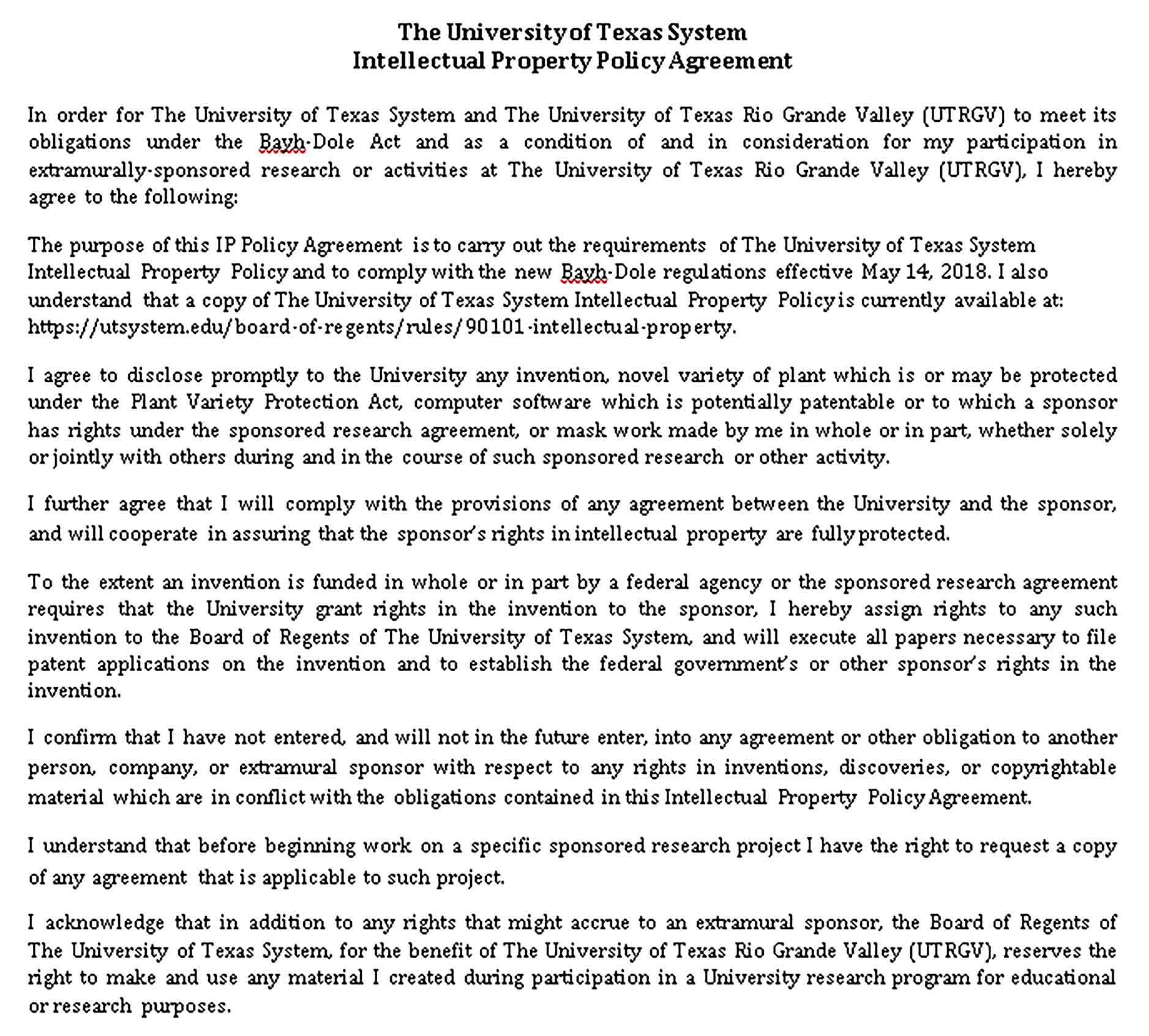 Templates Intellectual Property Policy Agreement in Sample