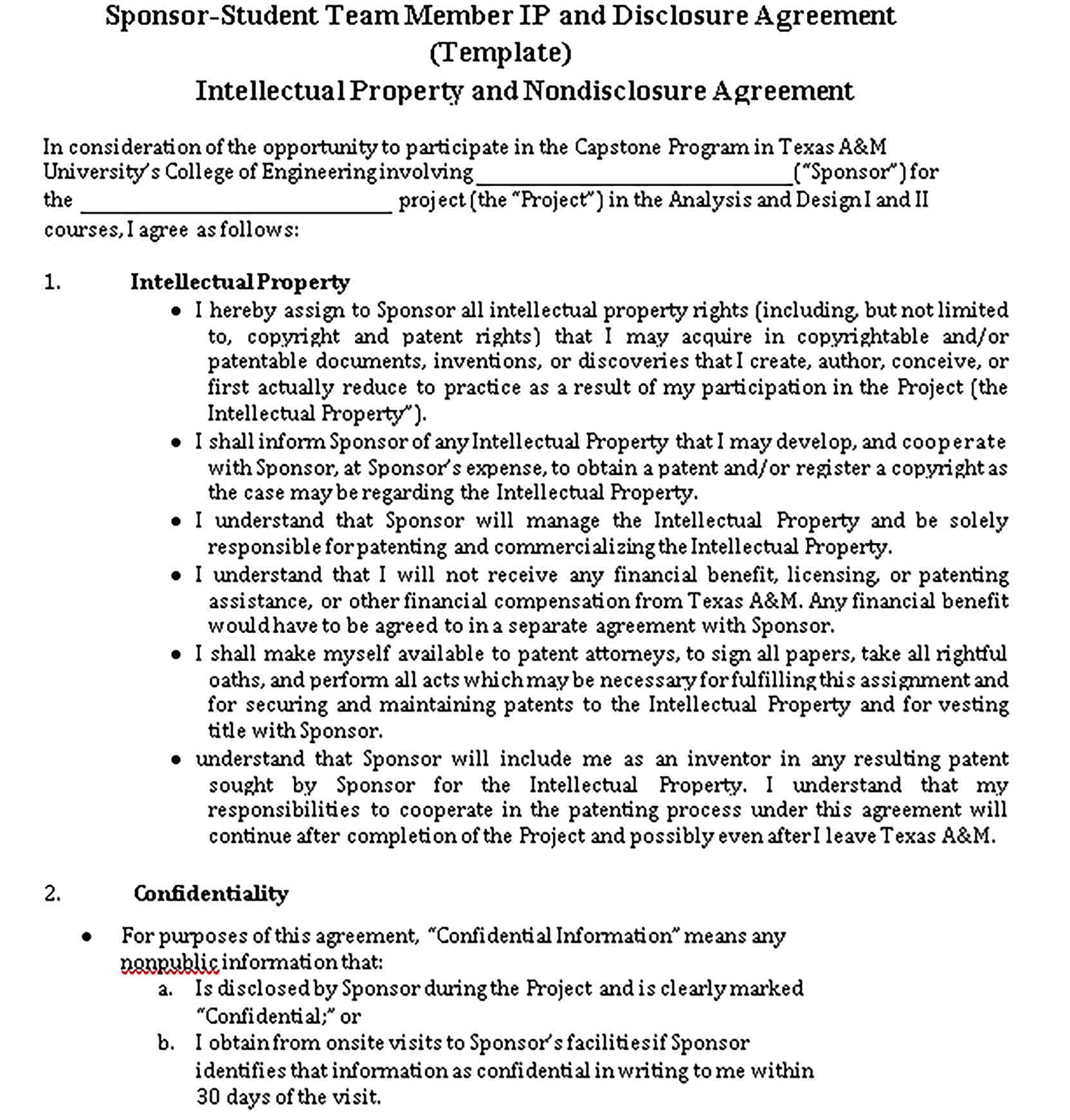 Templates Intellectual Property and Nondisclosure Agreement Sample