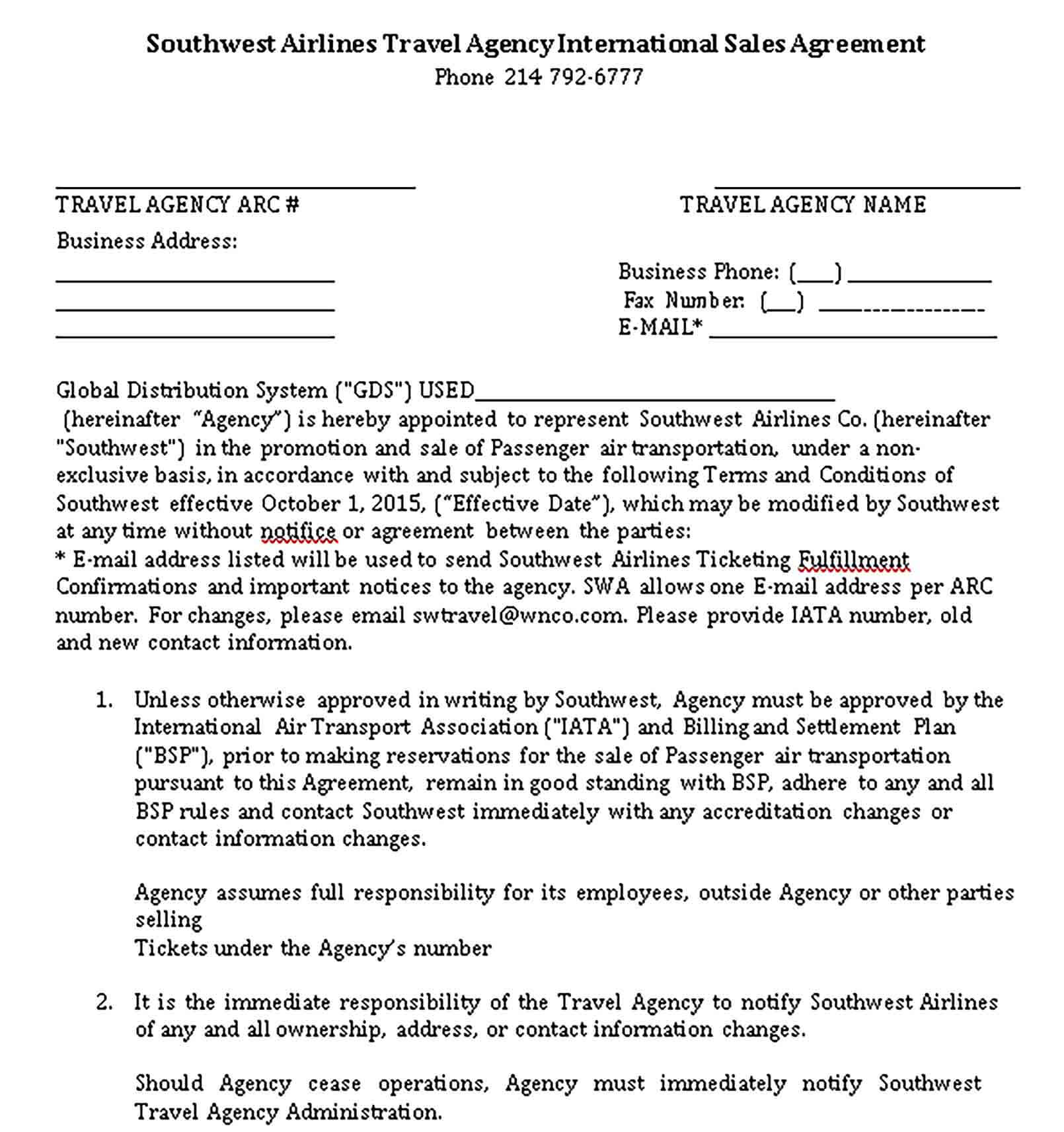 Templates International Travel Sales Agency Agreement Sample