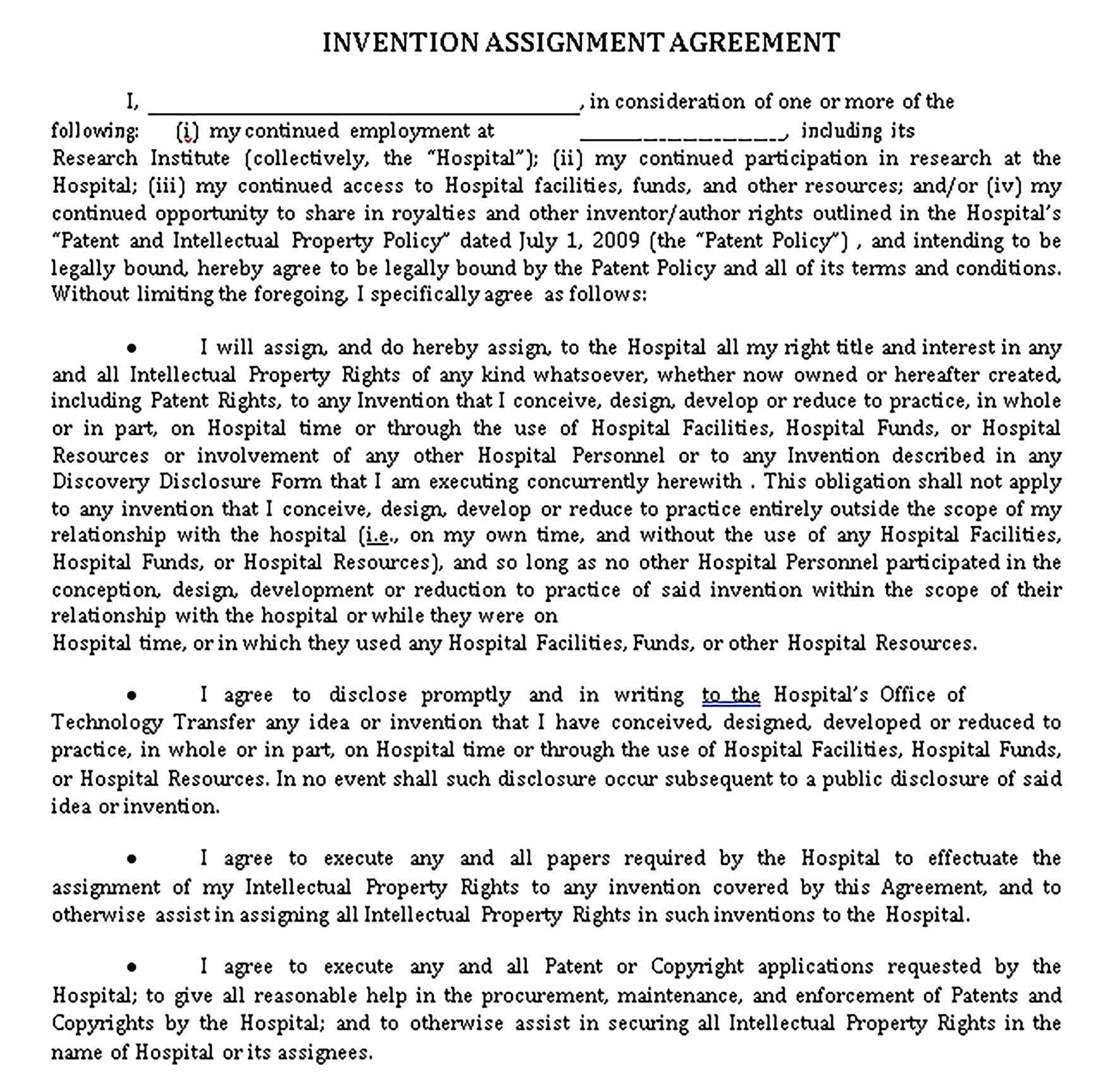 Templates Invention Assignment Agreement Sample