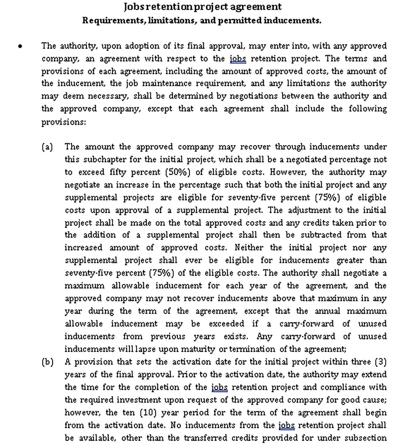 Templates Jobs retention project agreement Sample