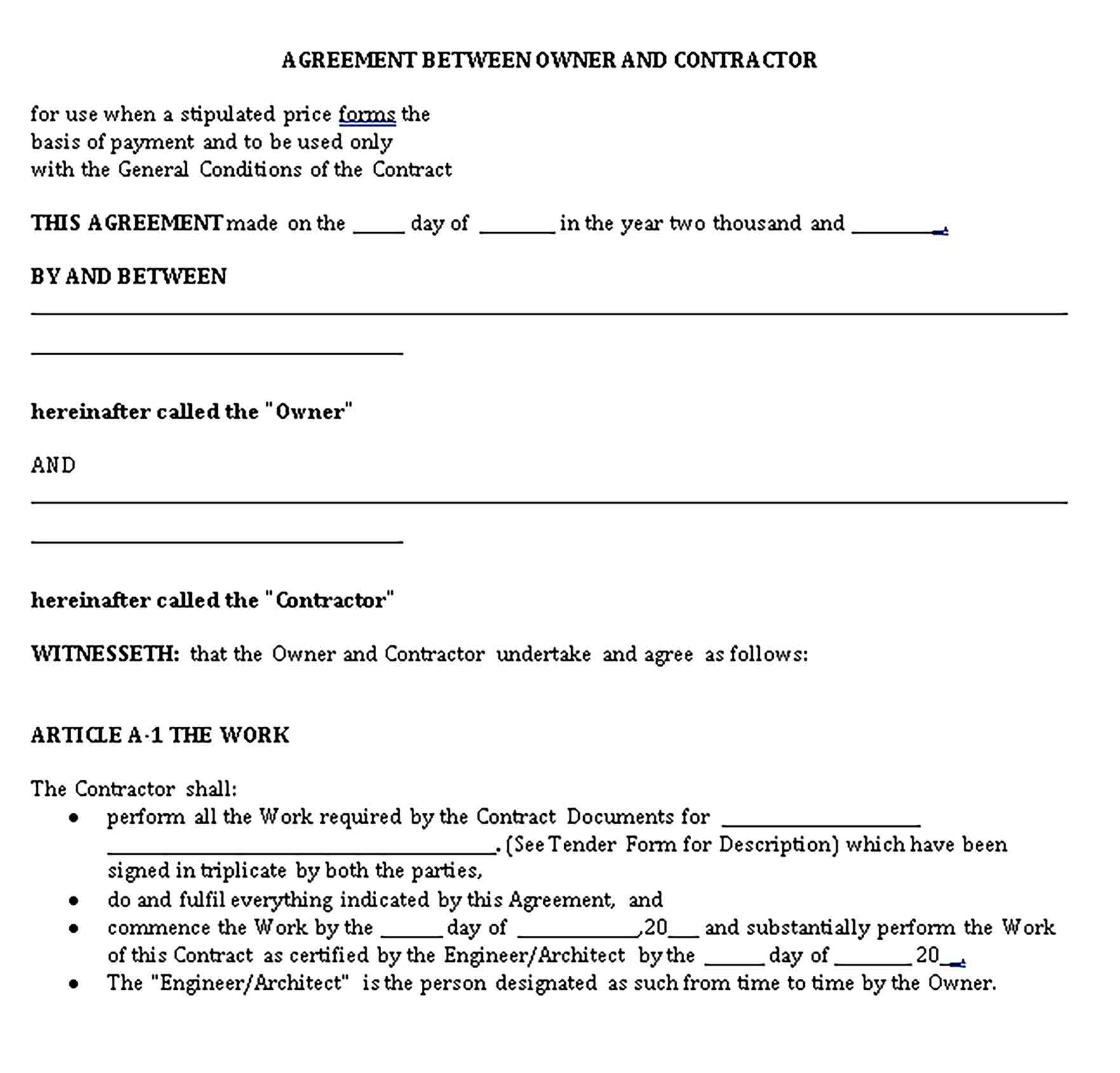 Templates Legal Agreement Between Contractor Owner Sample 1