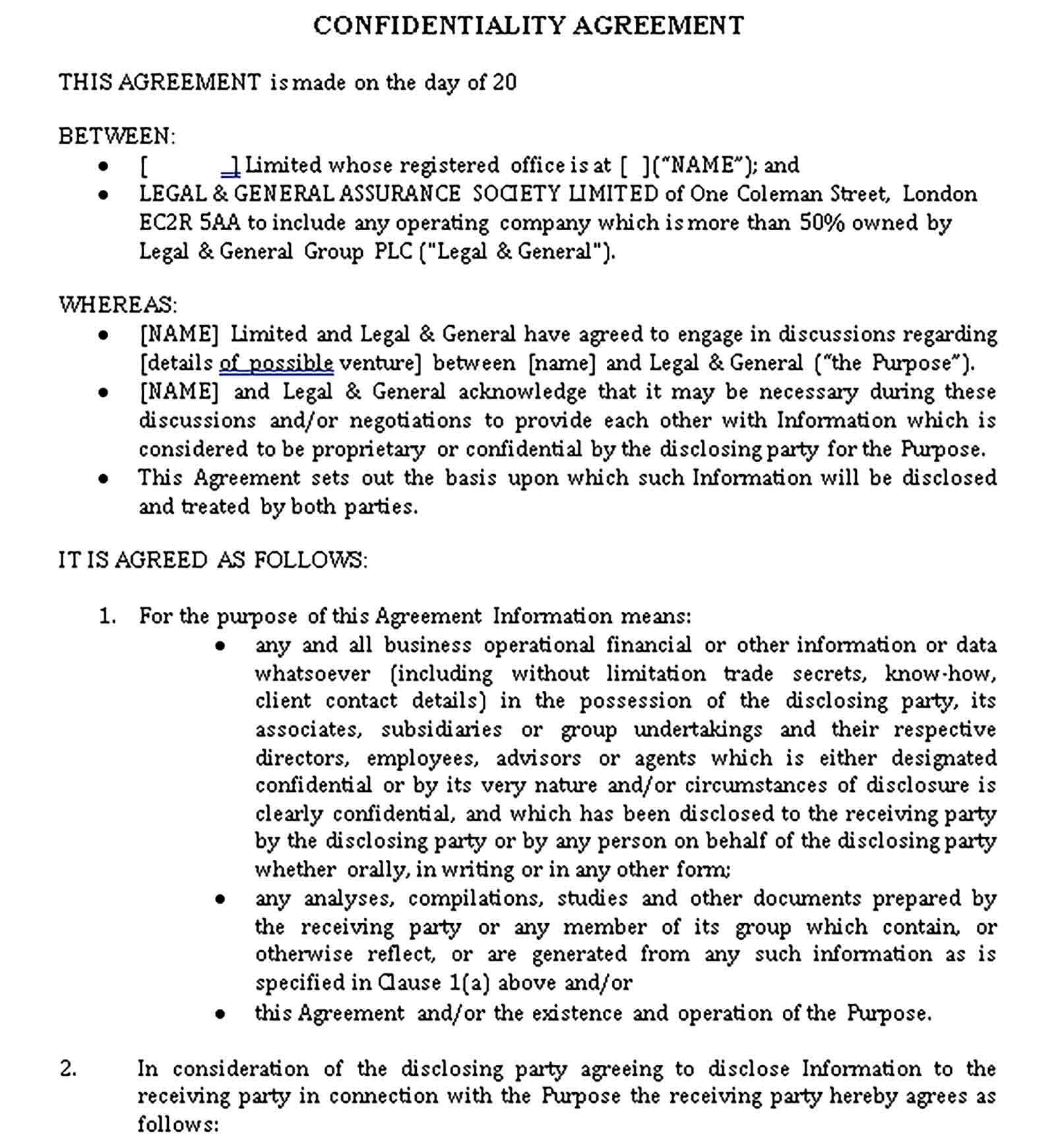 Templates Legal Confidentiality Agreement Word Sample