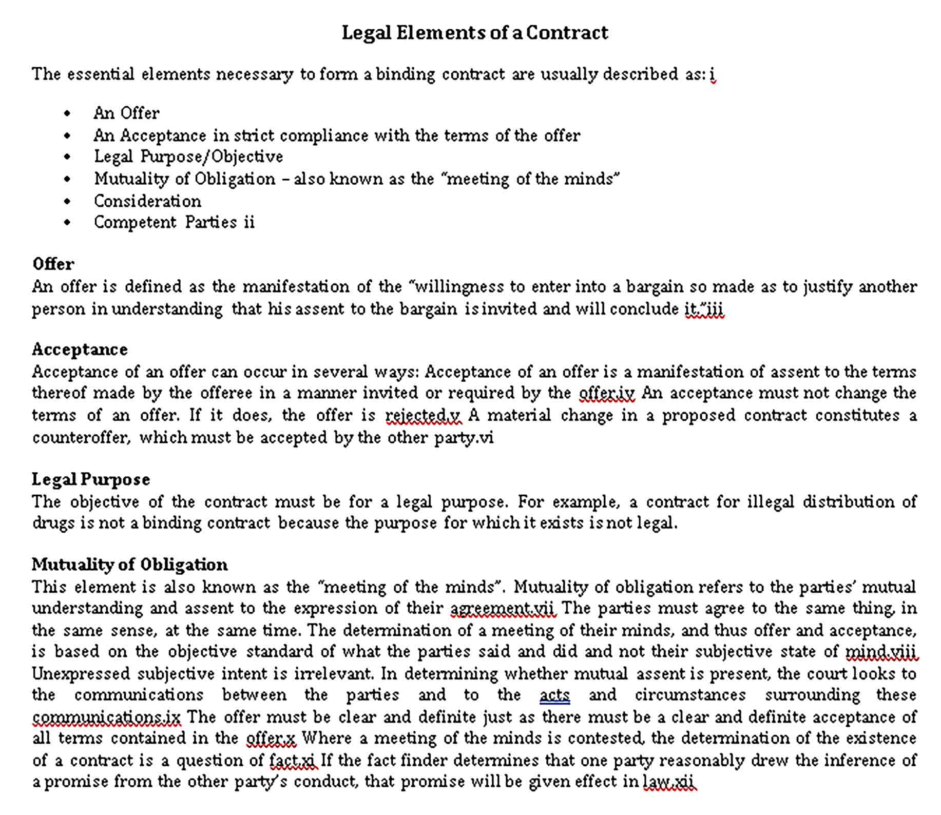 Templates Legal Elements Of Contract Agreement Sample
