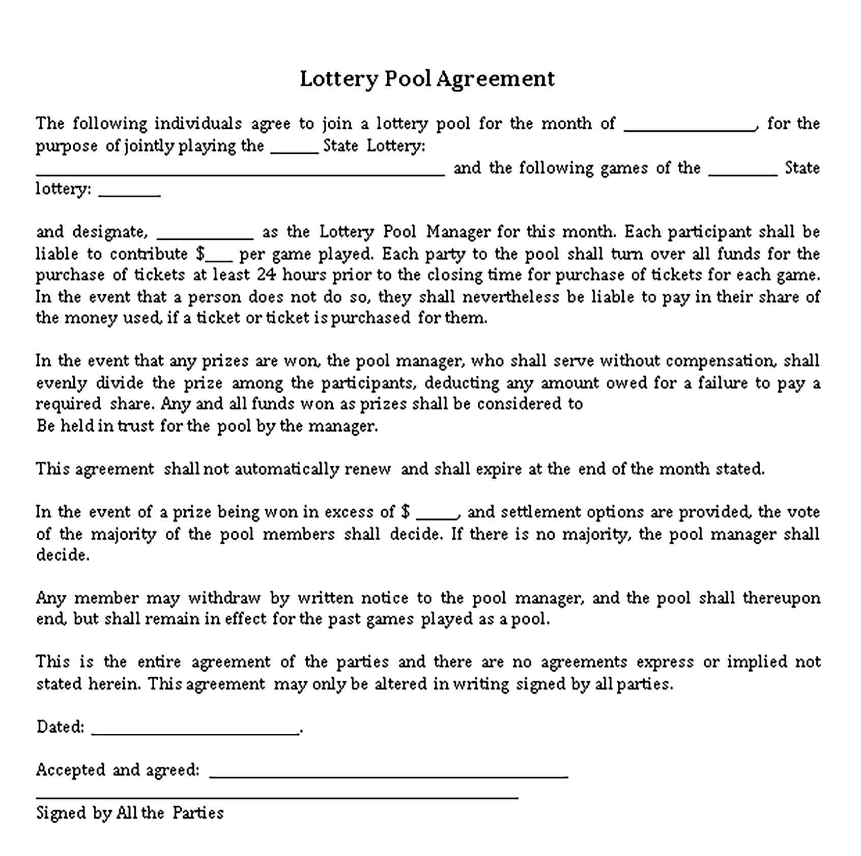Templates Legal Lottery Pool Agreement Sample