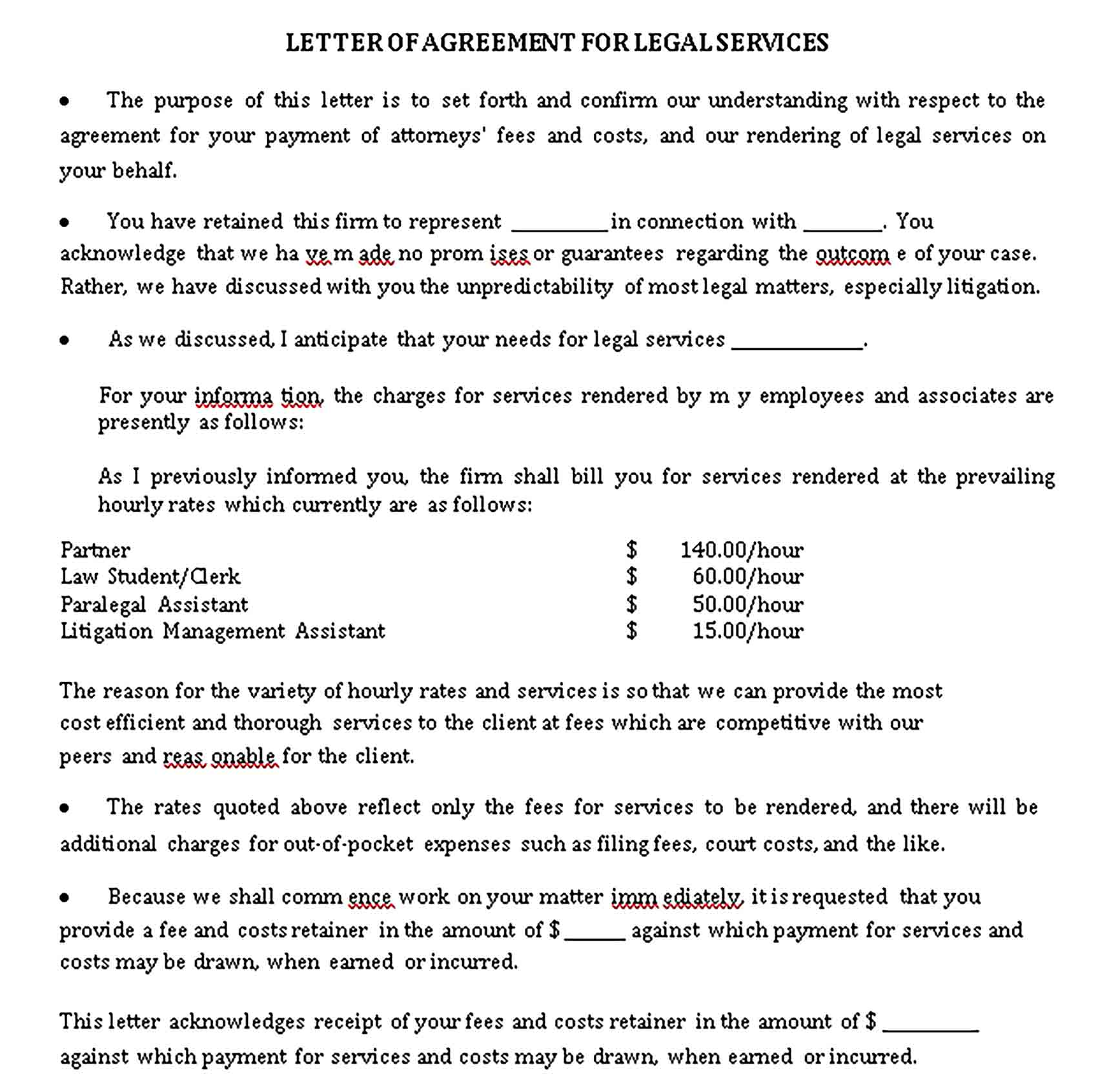 Templates Letter of Agreement for Legal Services Sample