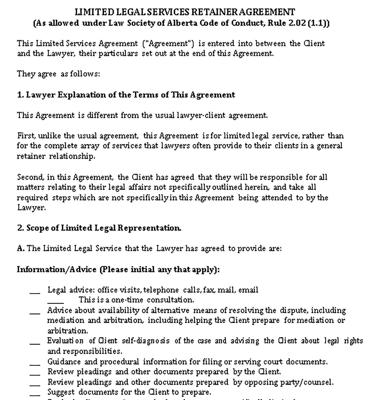 Templates Limited Legal Services Retainer Agreement Sample