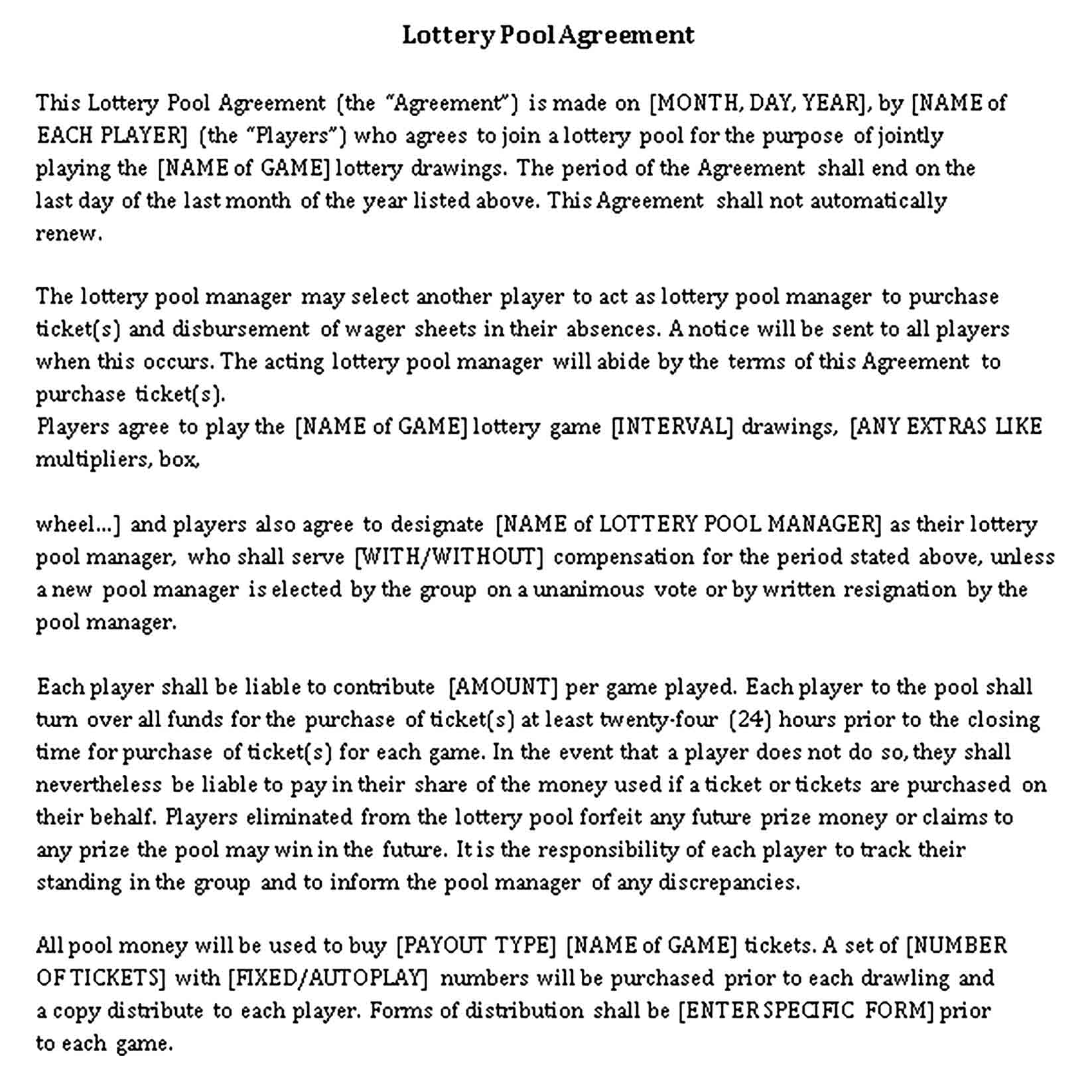 Templates Lottery Pool Agreement Sample