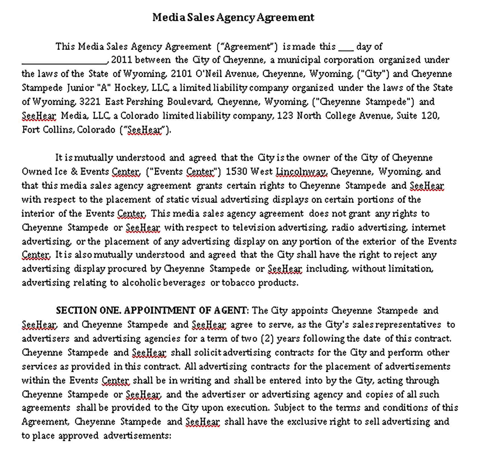 Templates Media Sales Agency Agreement Sample