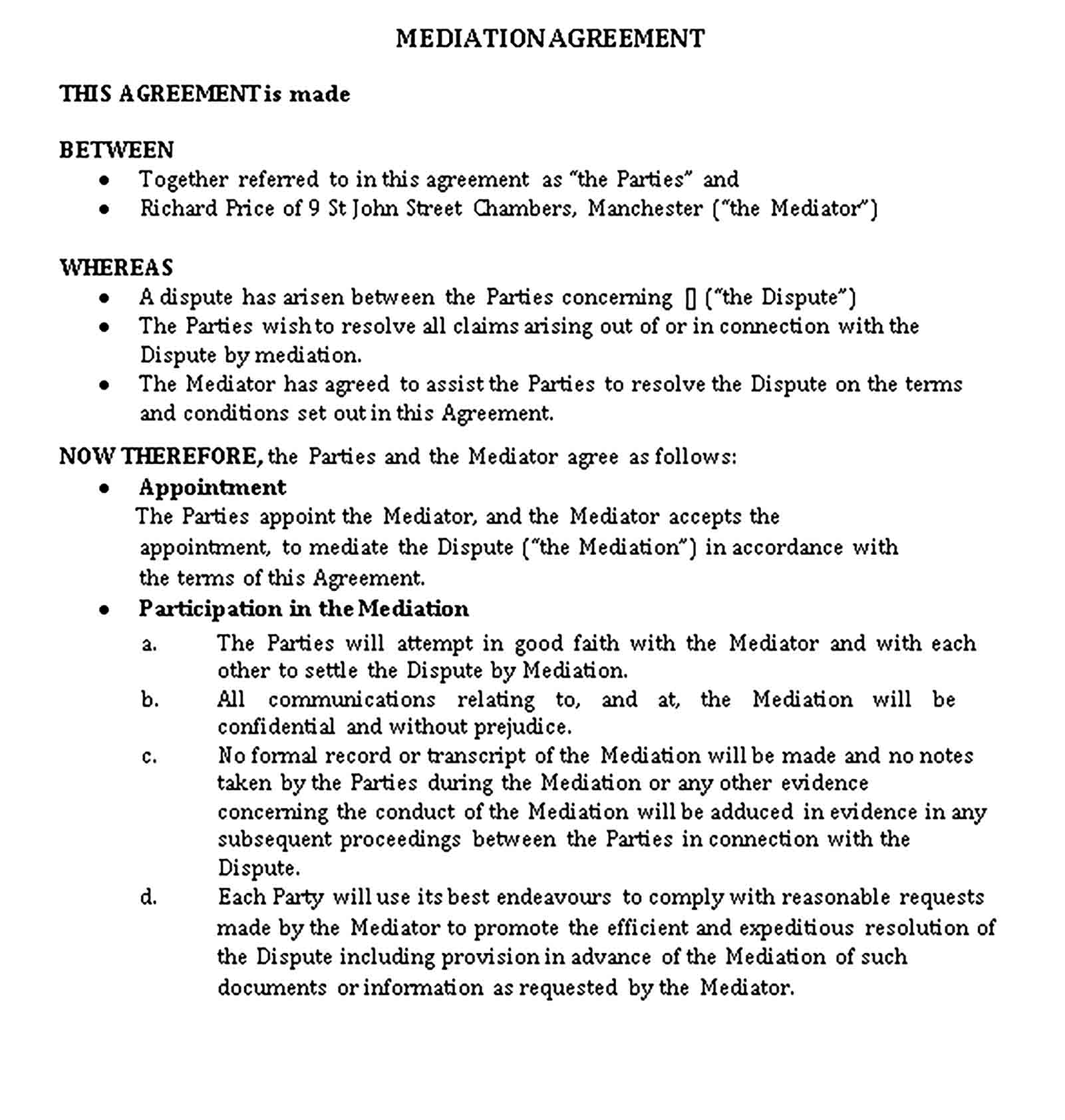 Templates Mediation Confidentiality Agreement for Agent Sample