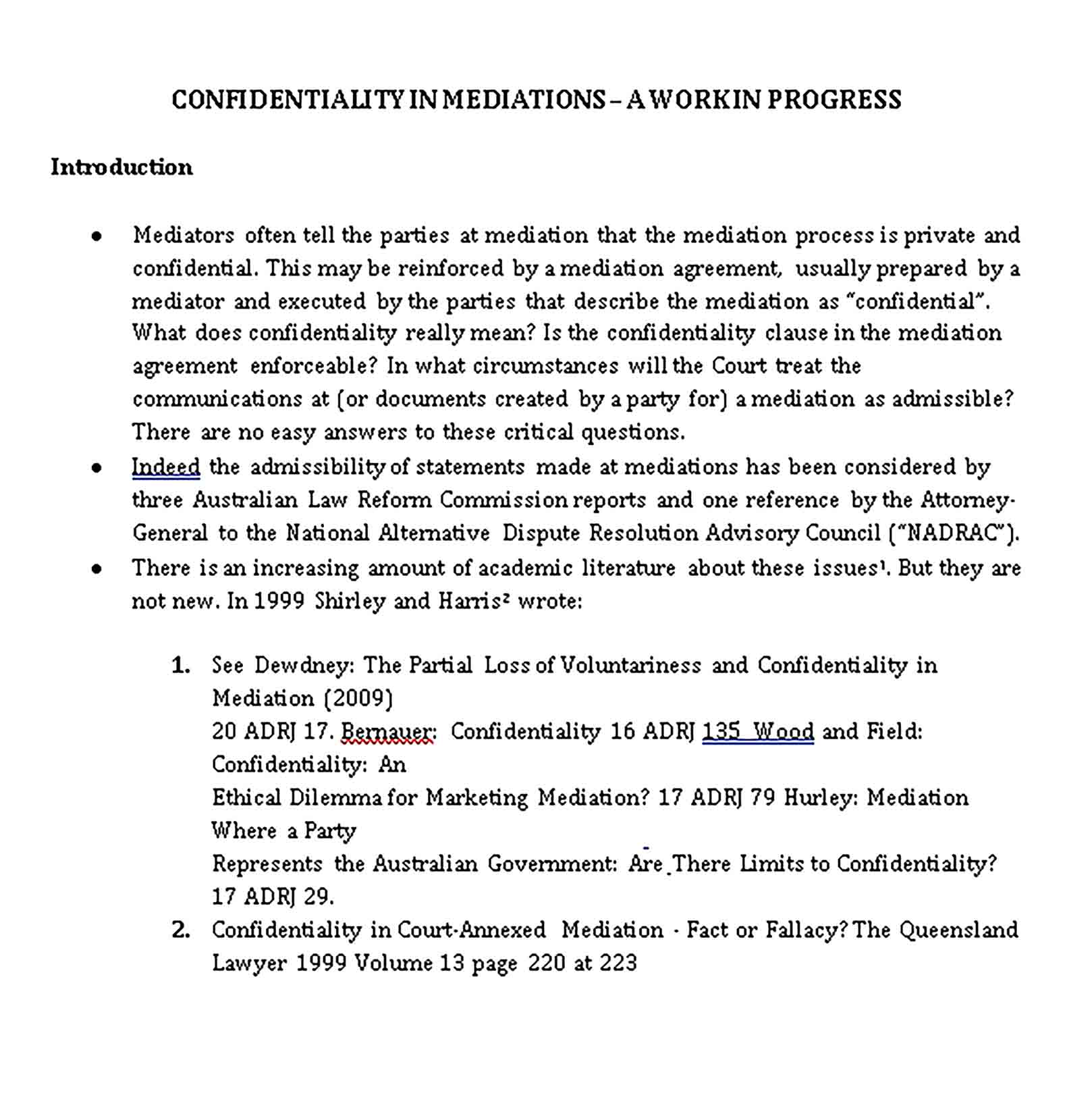 Templates Mediation Confidentiality Agreement for Marketer Sample