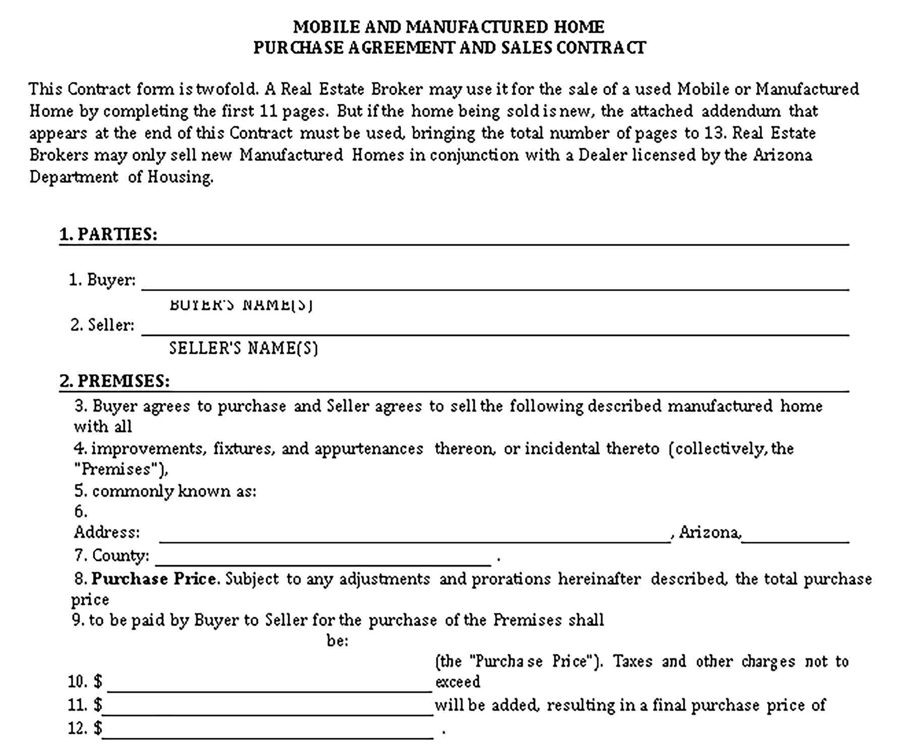 Templates Mobile and Manufactured Home Purchase Agreement Sample