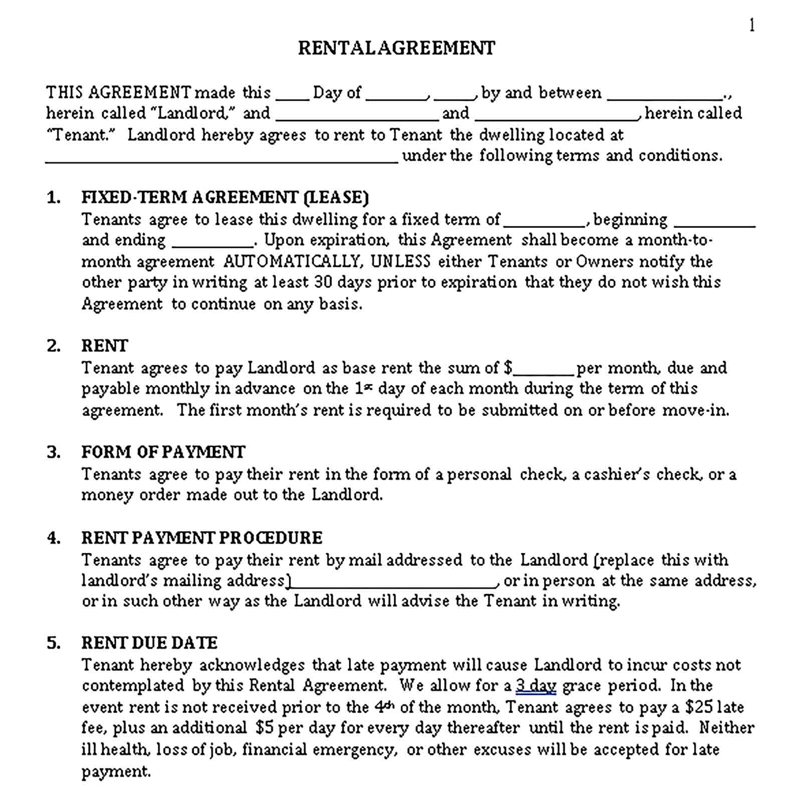 Templates Month to Month Rental Agreement Sample
