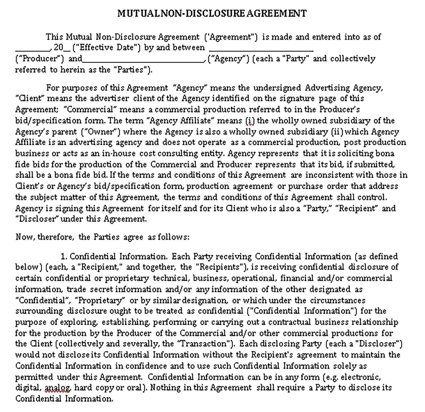Templates Mutual Non Disclosure Agreement Form Sample