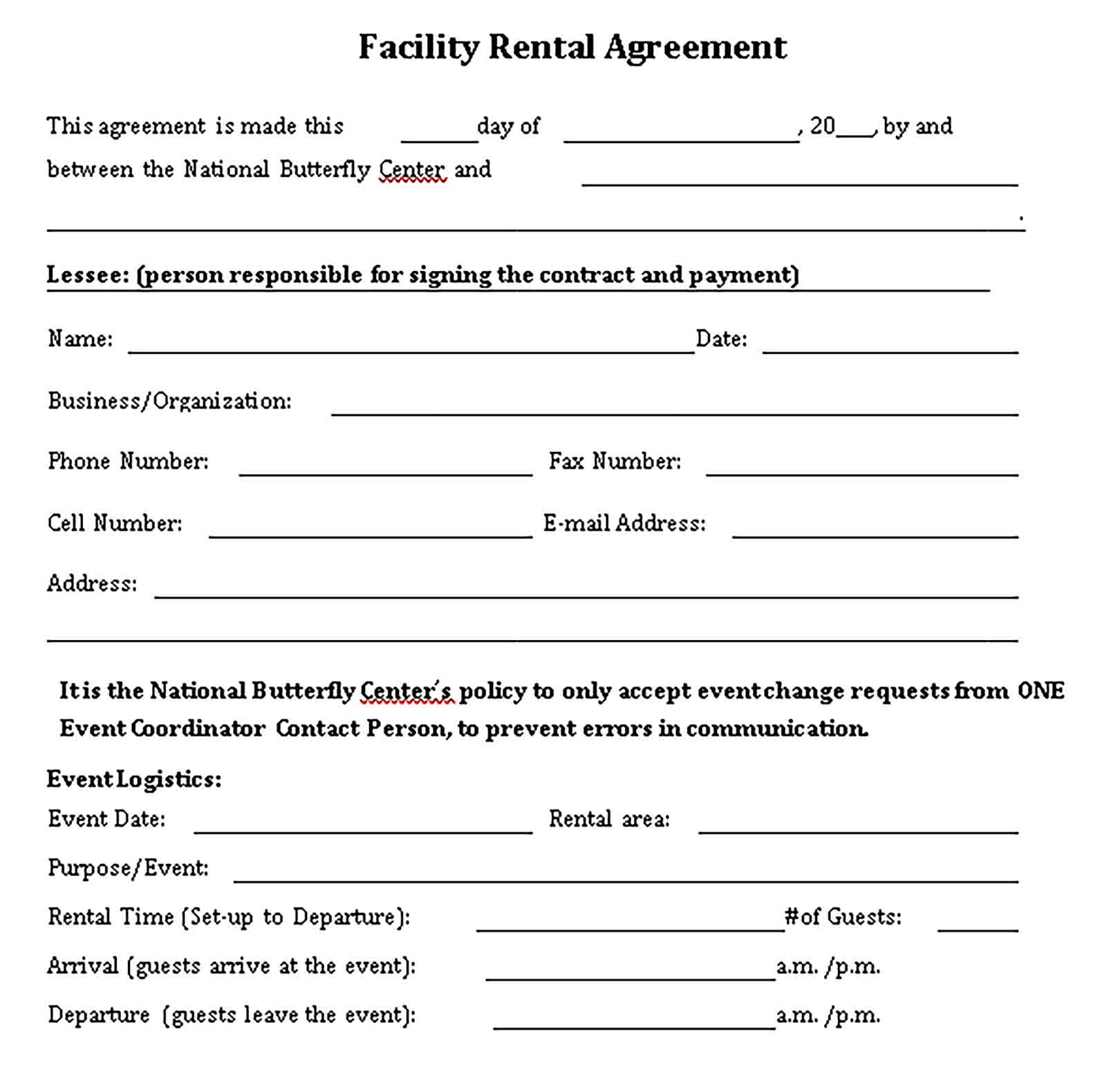 Templates National Butterfly Center Facility Rental Agreement Sample