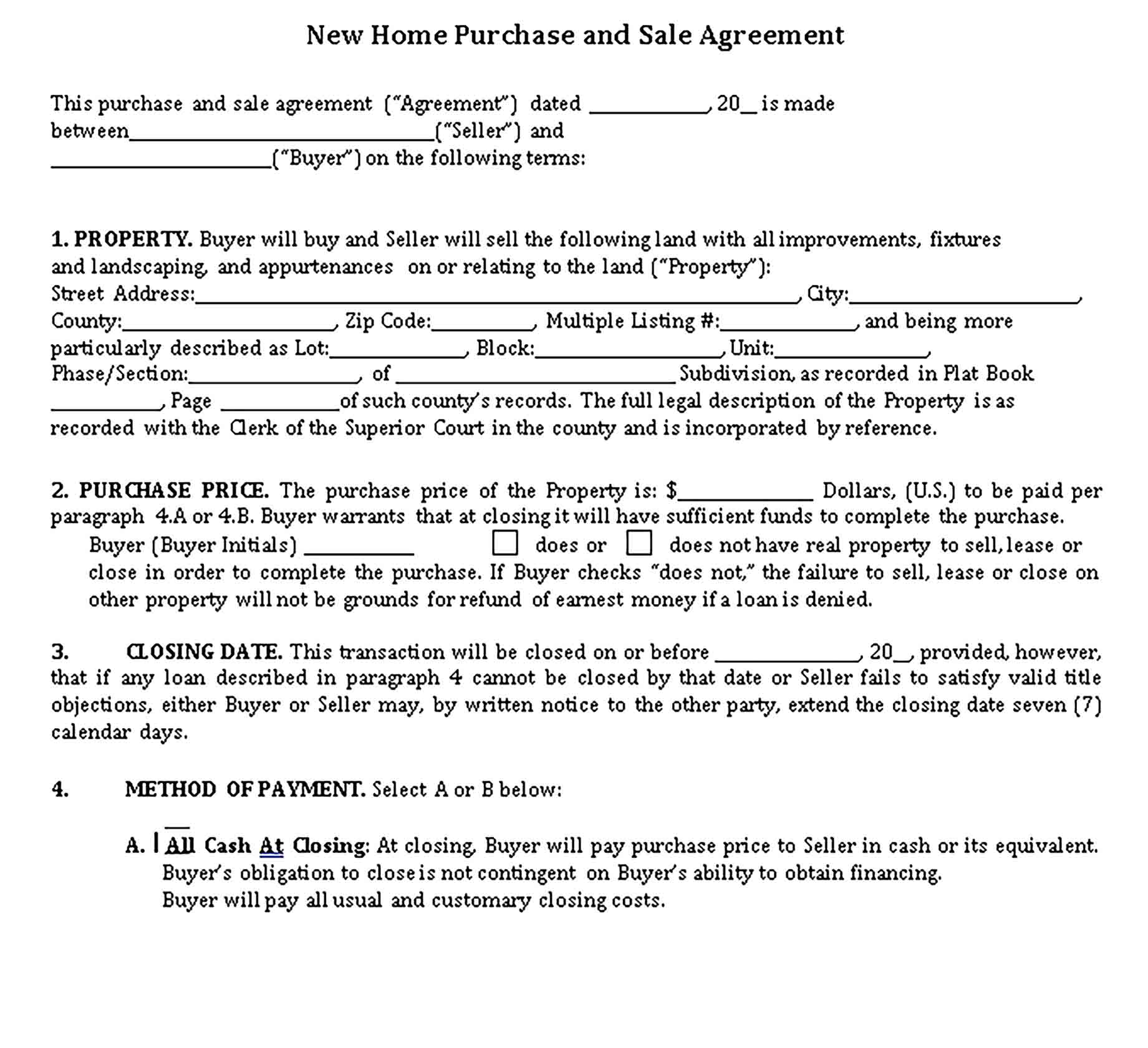 Templates New Home Purchase and Sale Agreement Sample