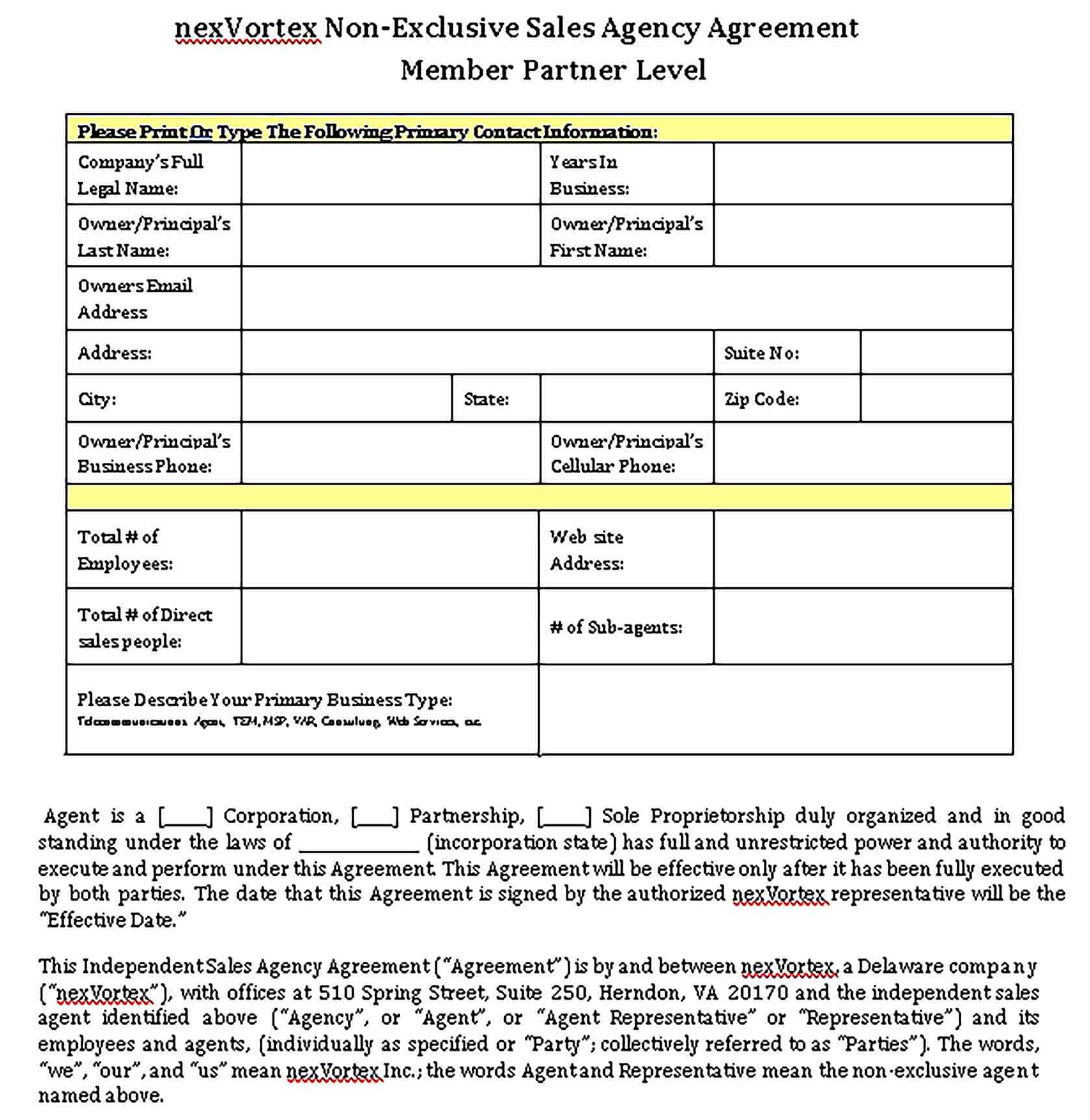 Templates Non Exclusive Sales Agency Agreement Sample