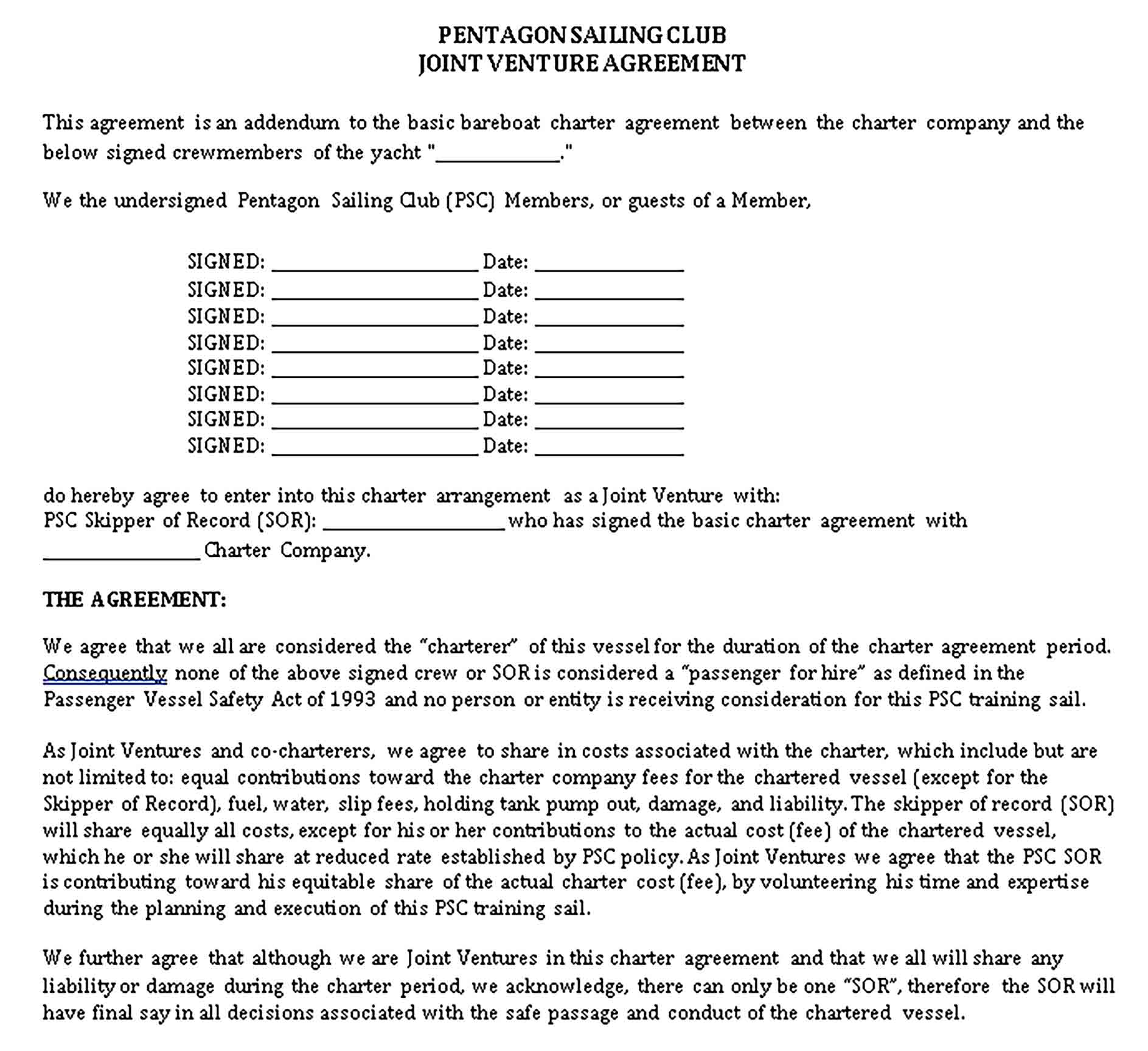 Templates PSC Joint Venture Agreement Sample