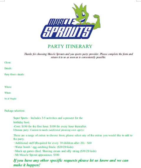 Templates Party Itinerary 1 Example