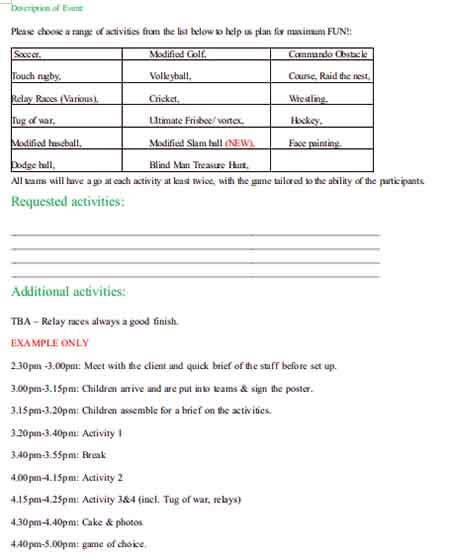 Templates Party Itinerary 2 Example