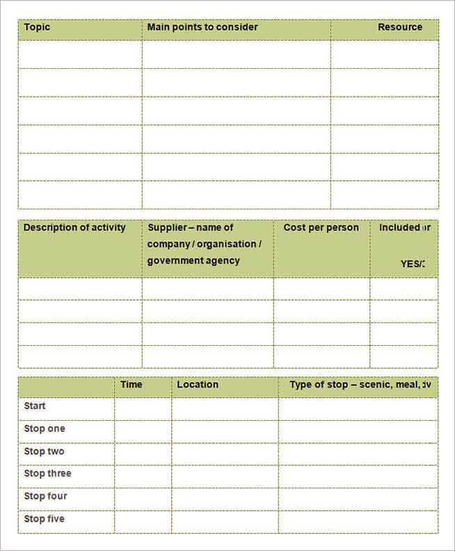 Templates Planning Guide Holiday Itinerary Example