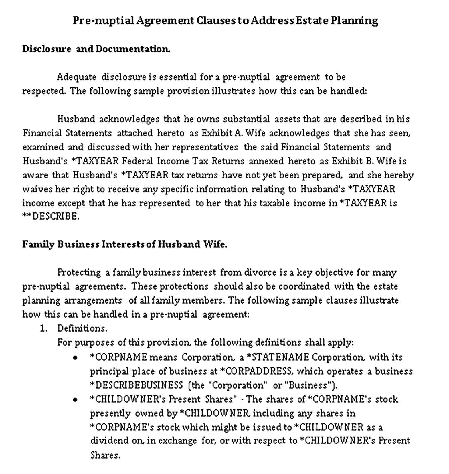 Templates Pre Nuptial Agreement Clauses to Estate Planning Sample