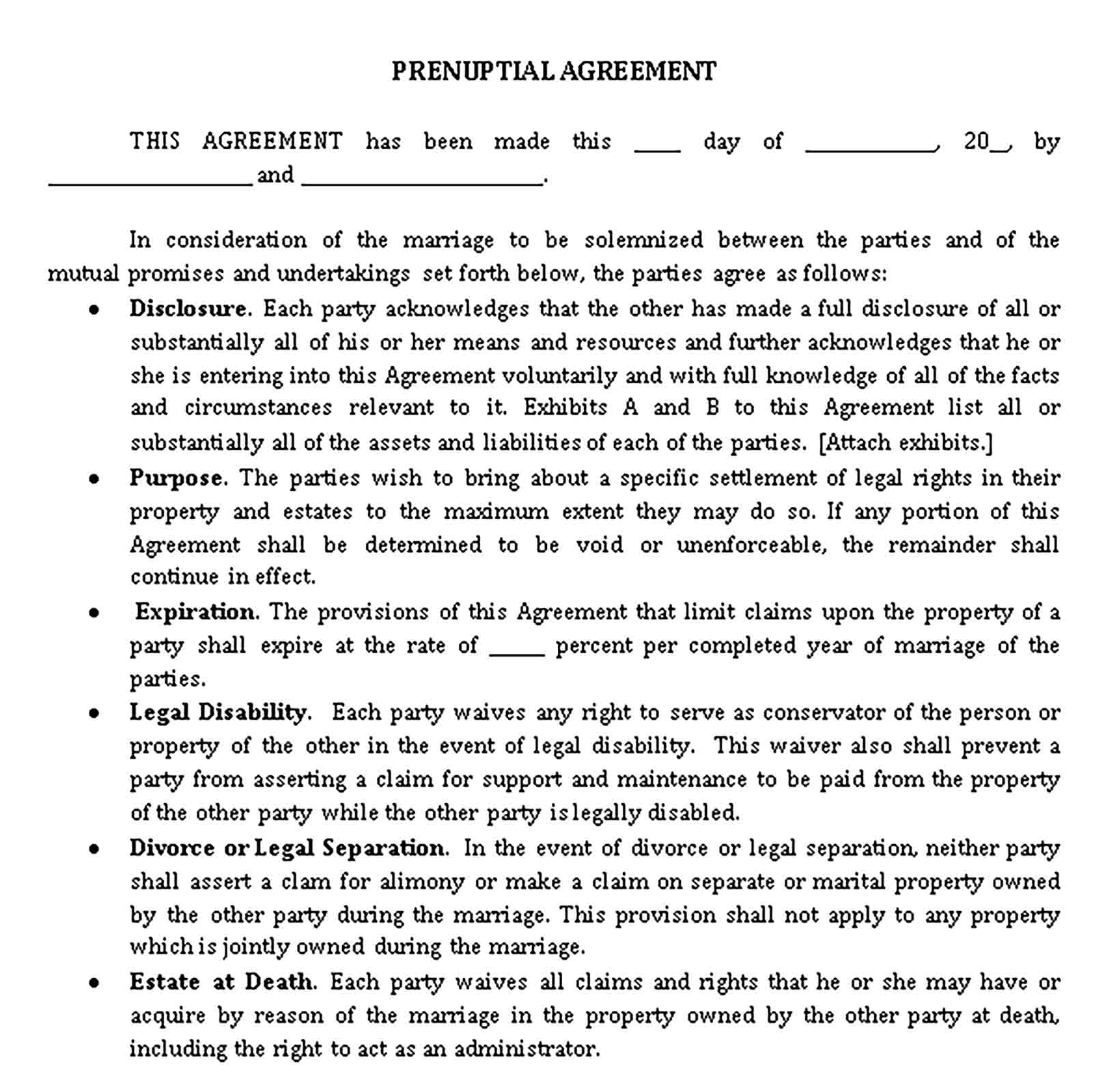 Templates Prenuptial Agreement Document Sample