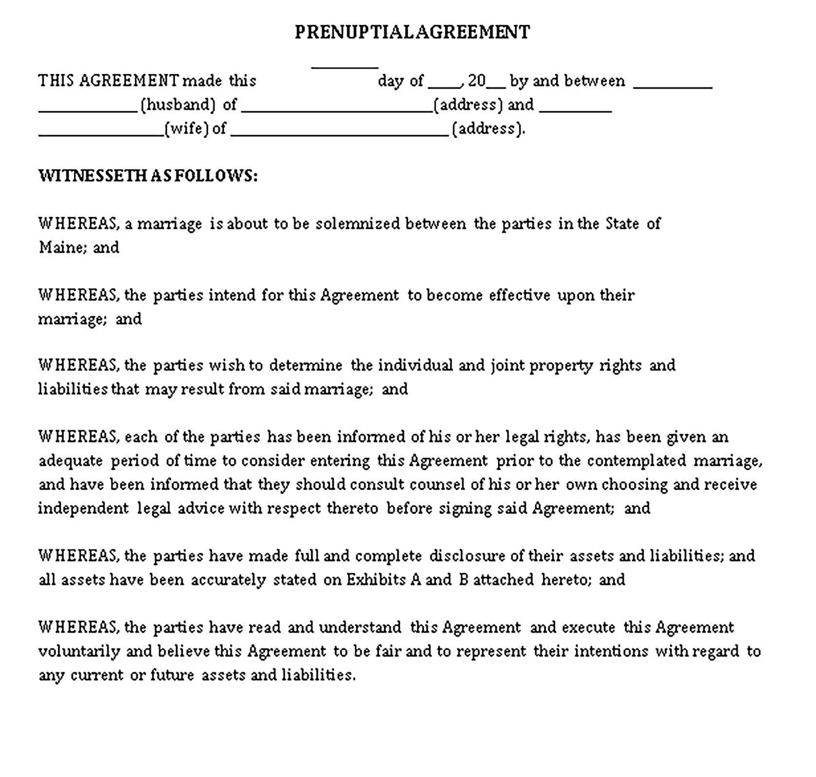 Templates Prenuptial Agreement Form Sample
