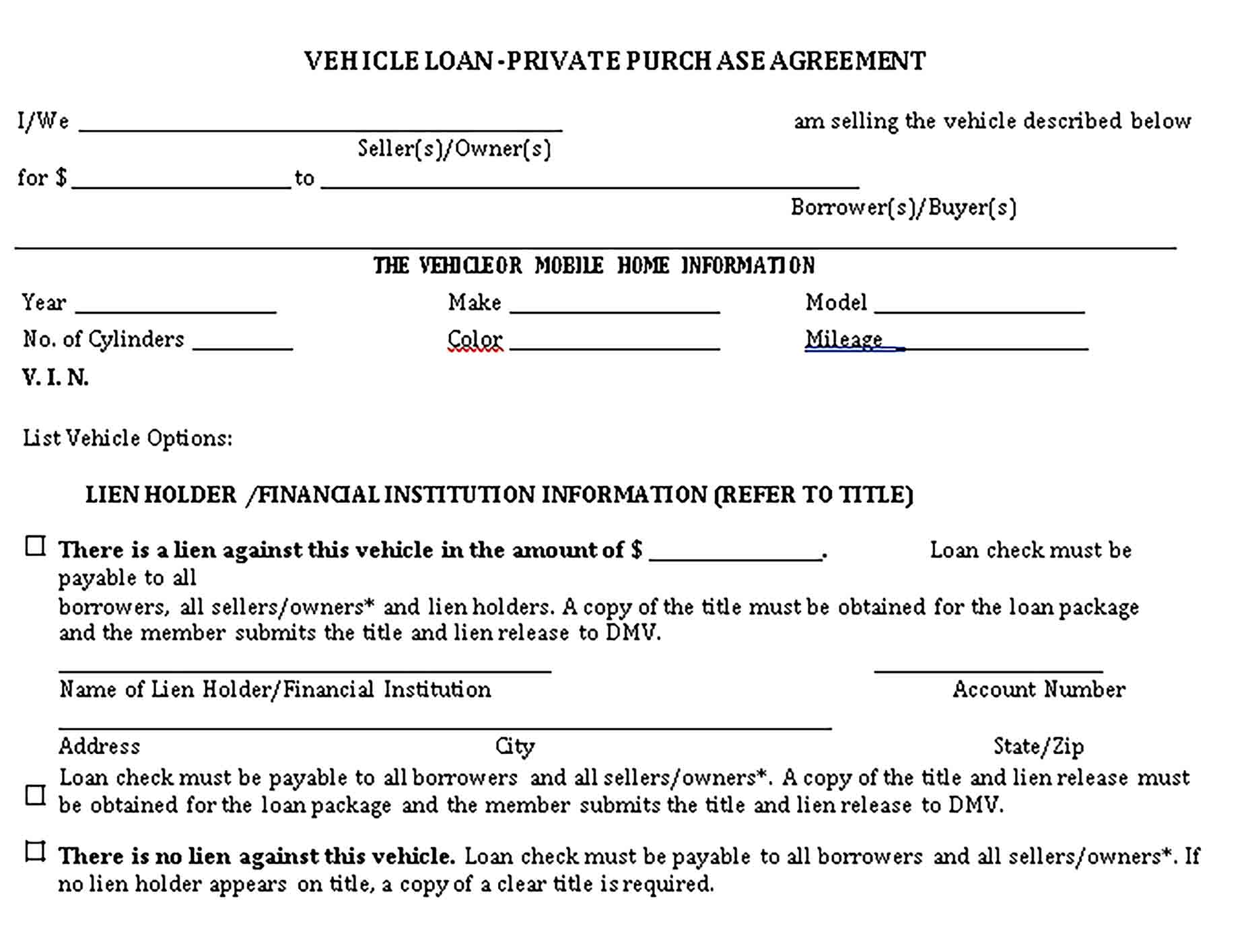 Templates Private Vehicle Loan Agreement Sample