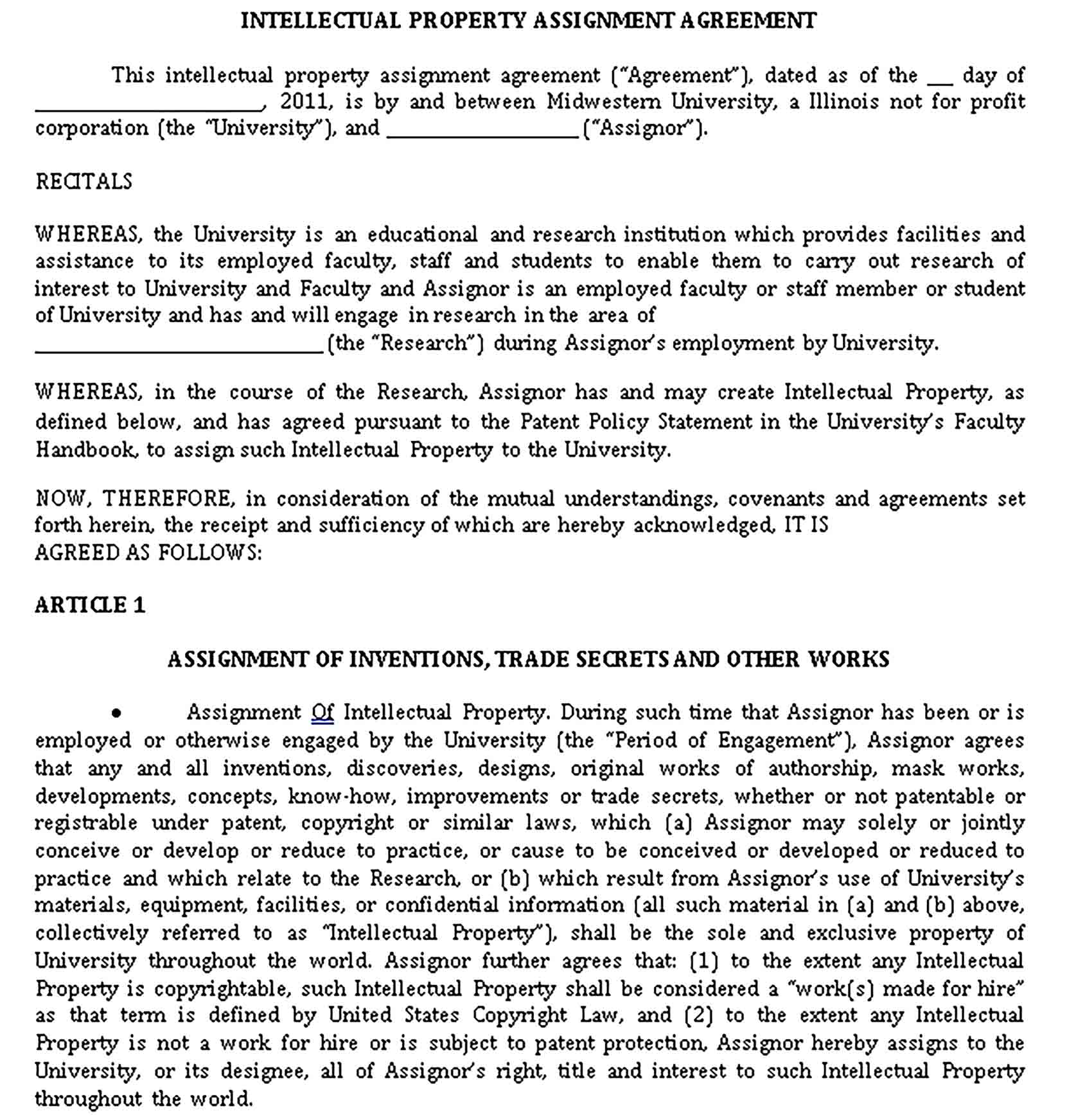 Templates Professional Intellectual Property Agreement in Sample
