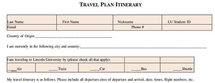 Templates Professional Travel Plan Itinerary Example