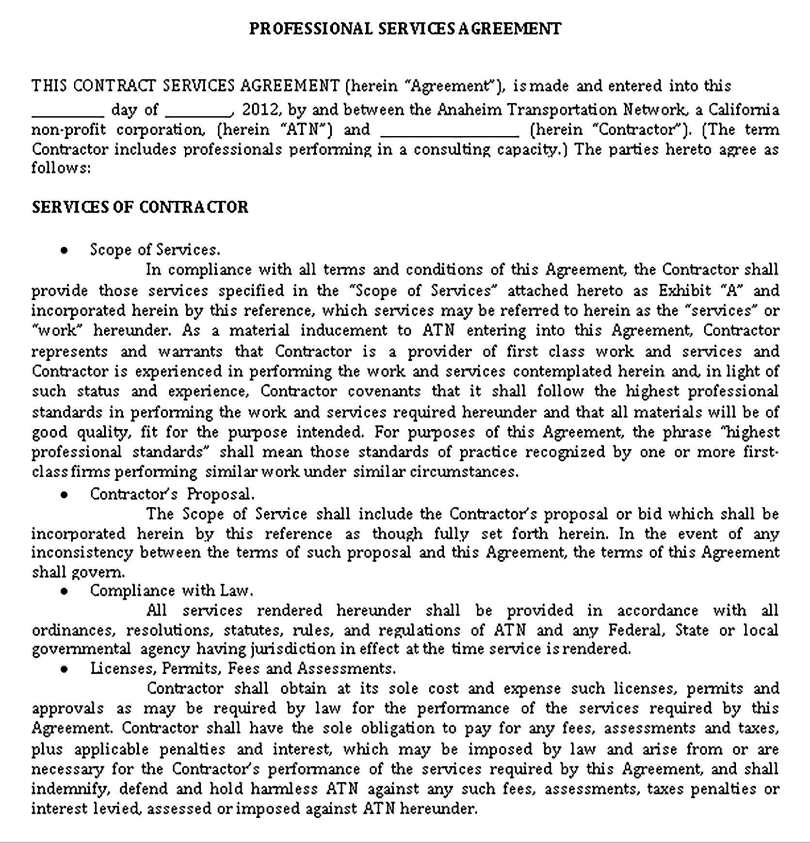 Templates Profressional Legal Service Agreement Sample