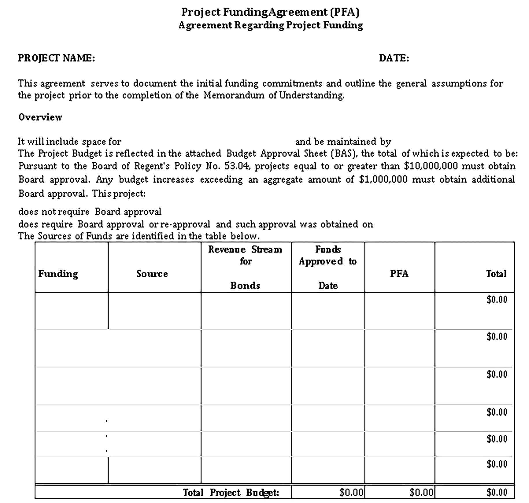 Templates Project Funding Sample