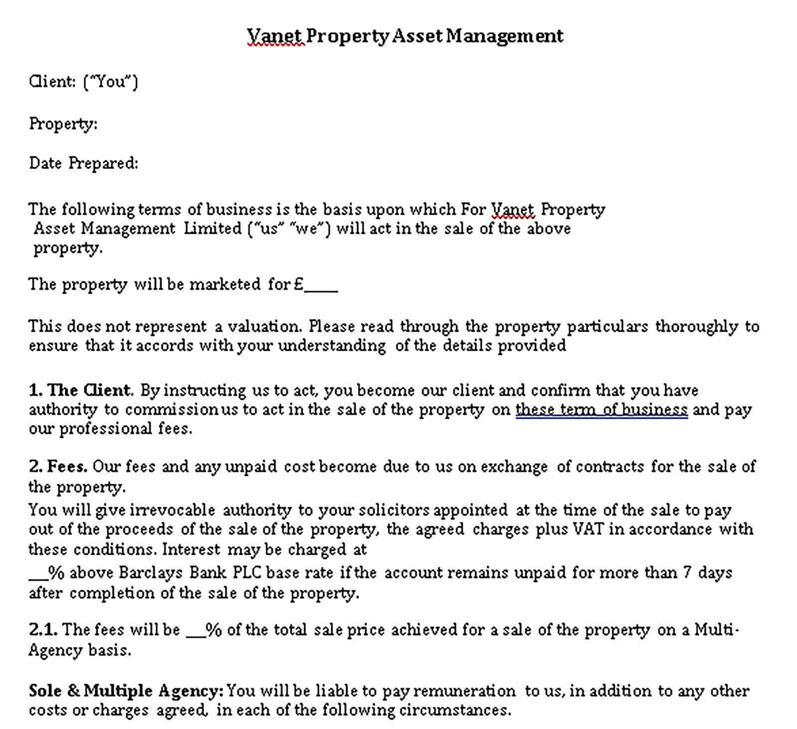 Templates Property Asset Management Sales Agency Agreement Sample