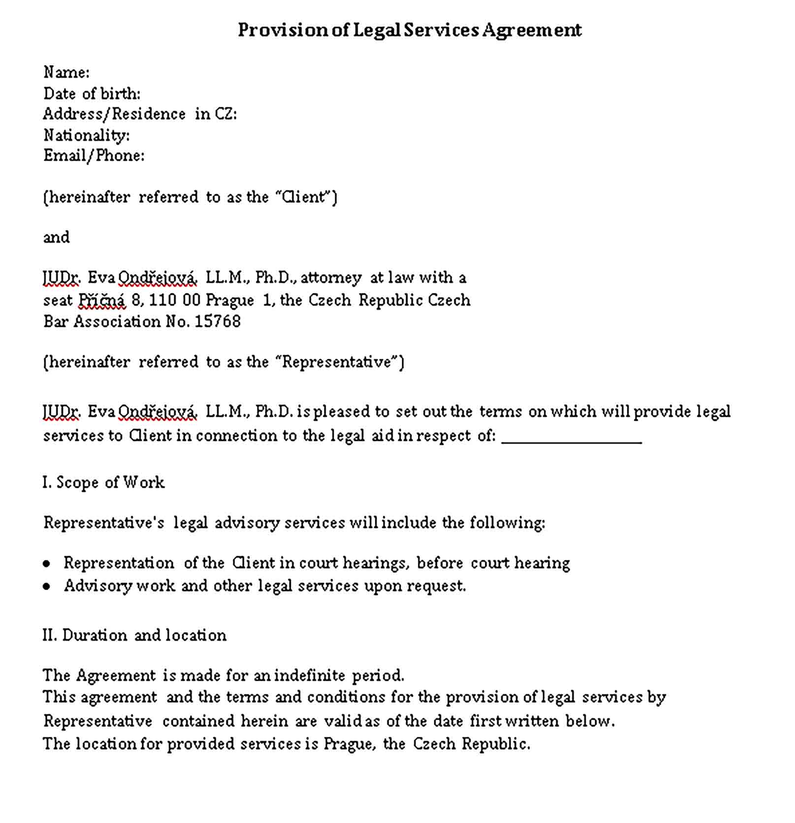 Templates Provision of legal services Agreement Sample