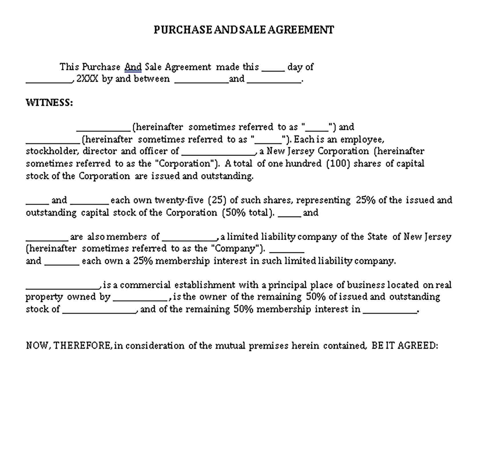 Templates Purchase Sale Agreement Sample