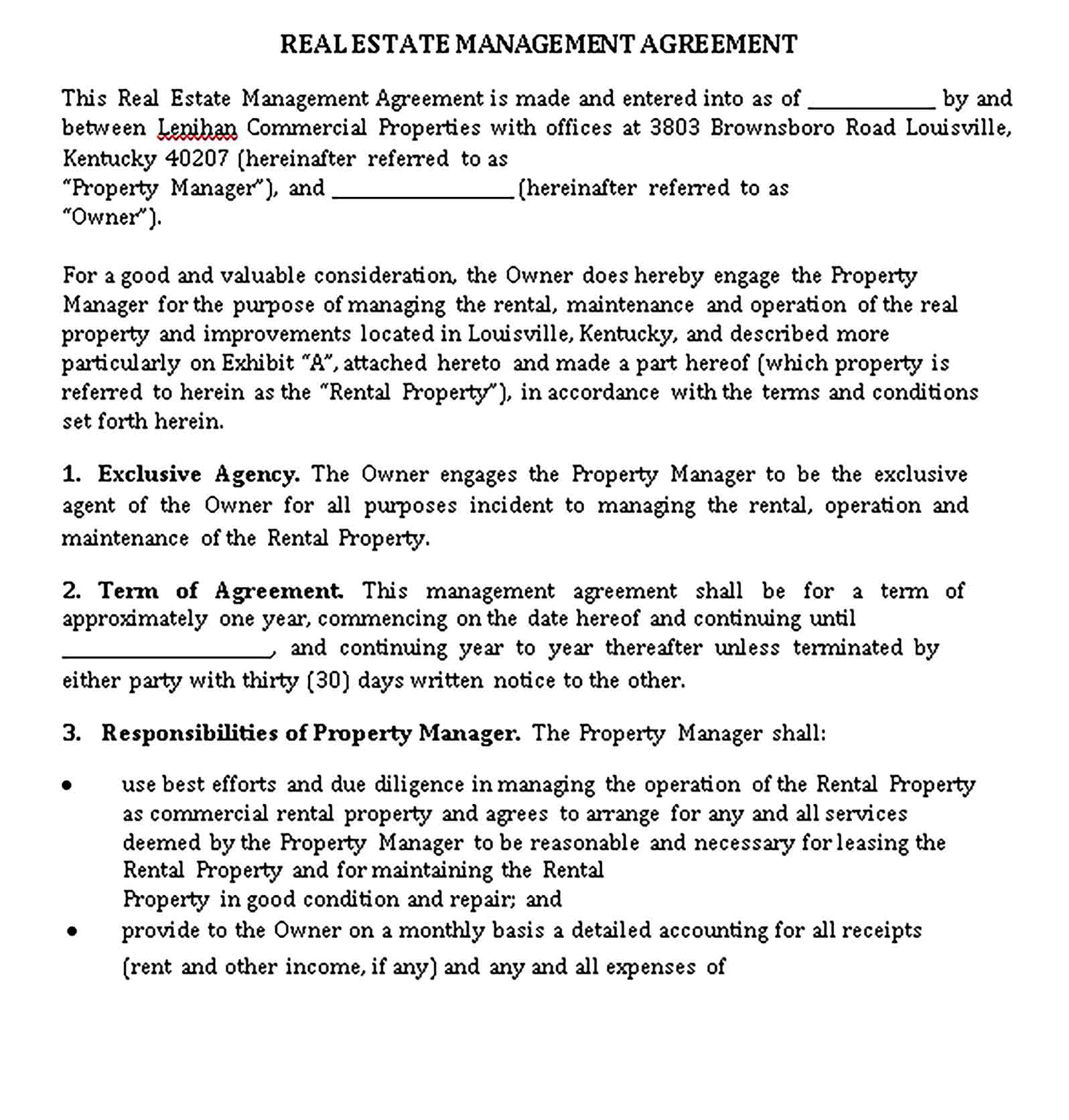 Templates Real Estate Management Agreement Sample 001