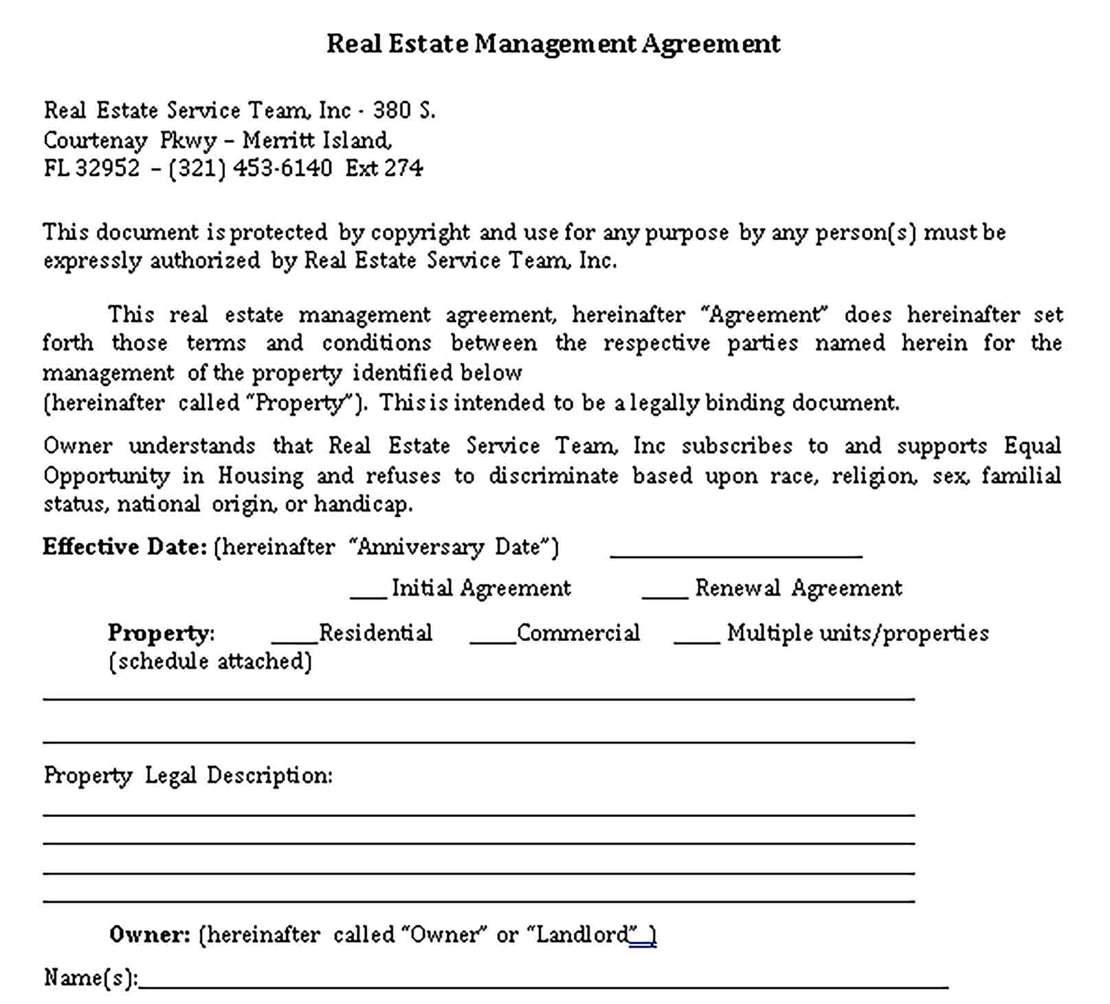Templates Real Estate Management Agreement.1 Sample