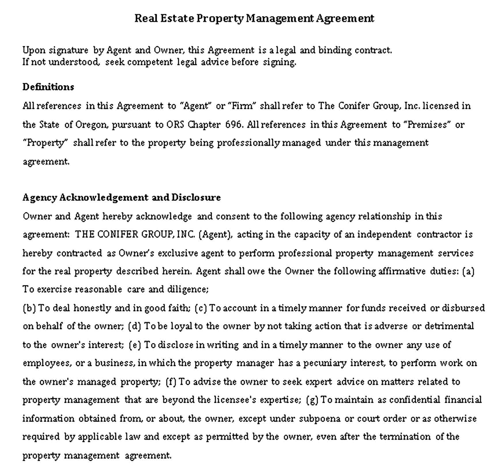 Templates Real Estate Property Management Agreement Sample 001