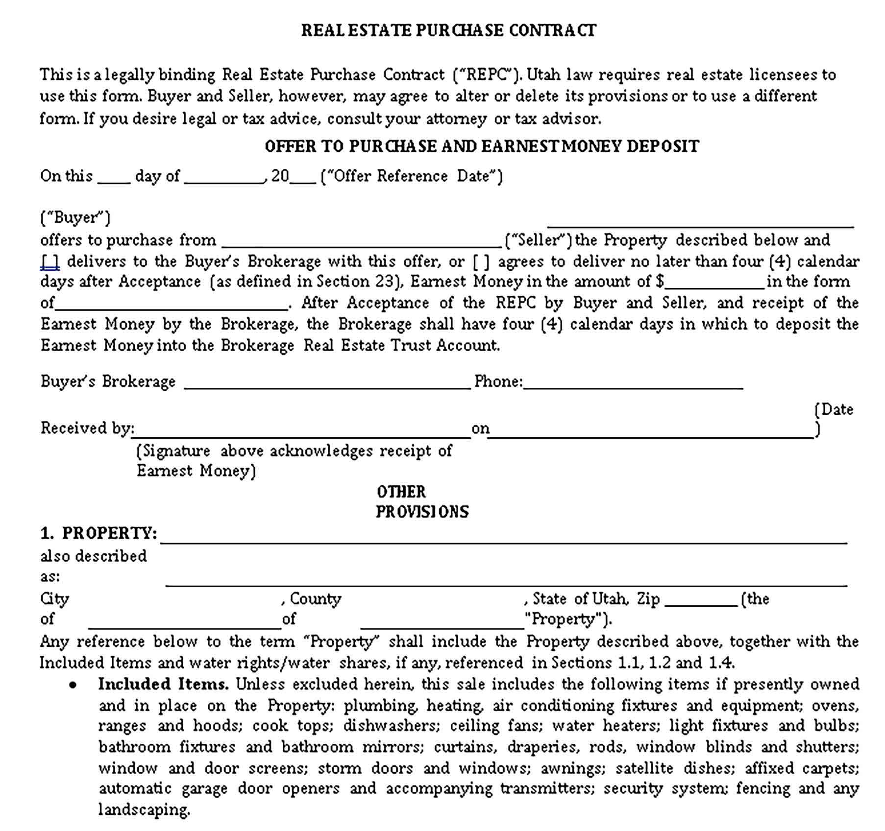 Templates Real Estate Purchase Contract Sample