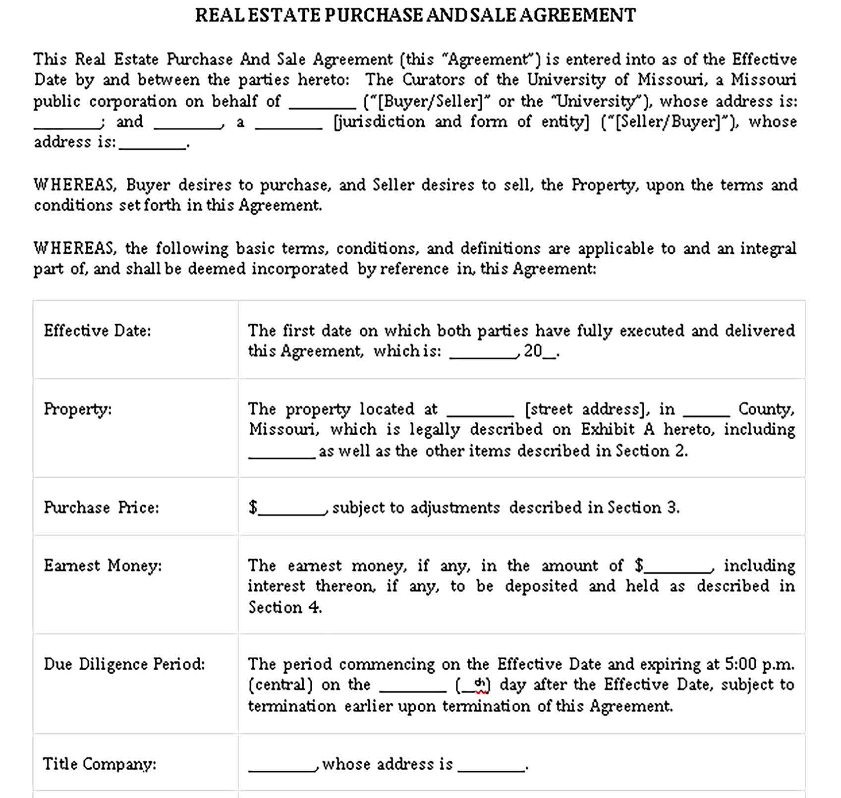 Templates Real Estate Purchase and Sale Agreement Sample