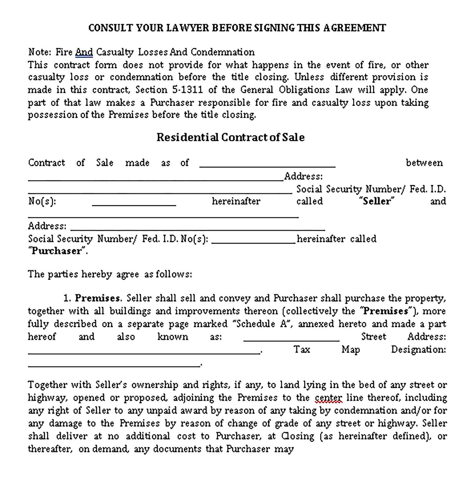 Templates Residential Contract pdf7 Sample